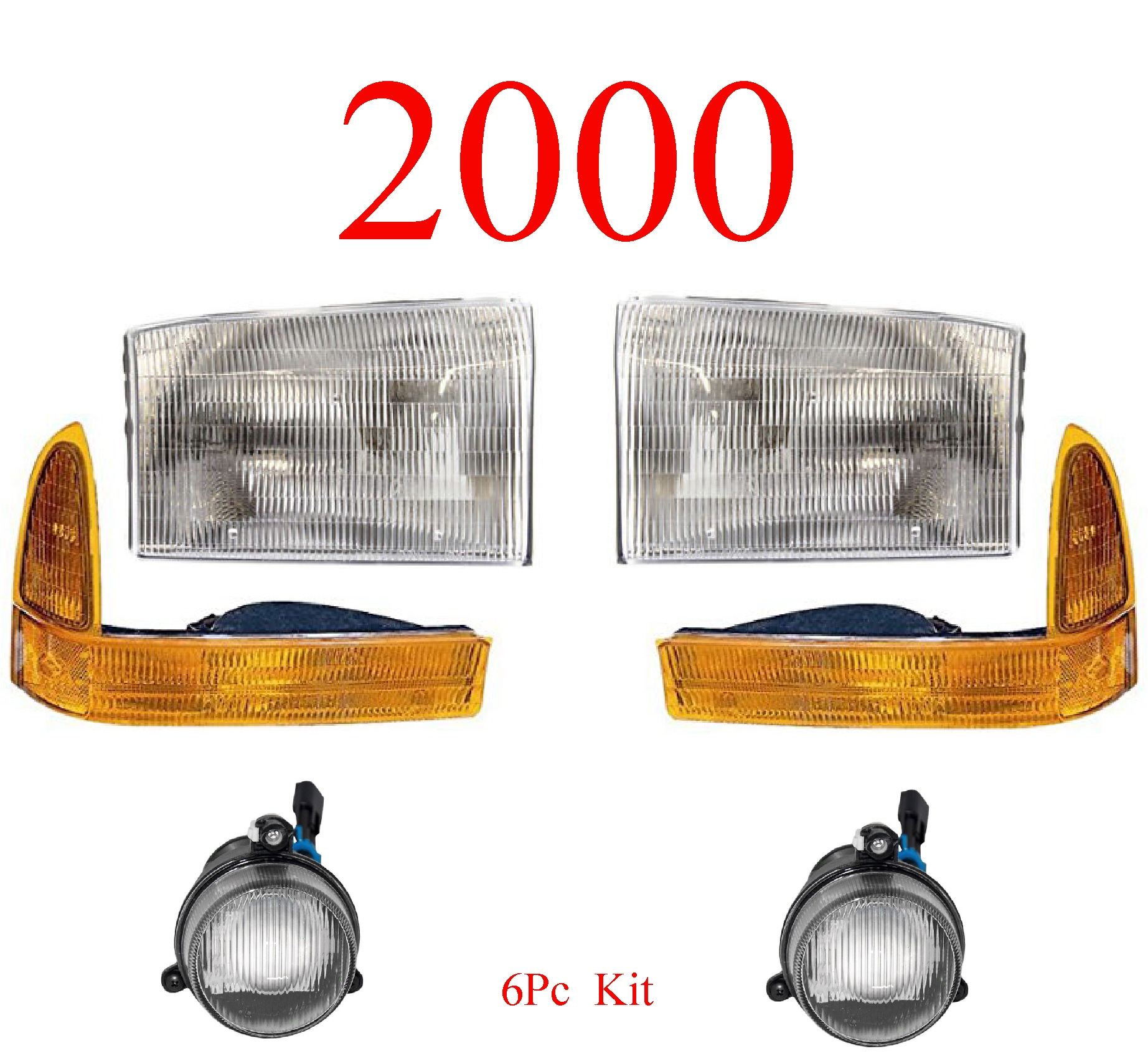 00 Ford Excursion 6Pc Head, Park & Fog Light Kit
