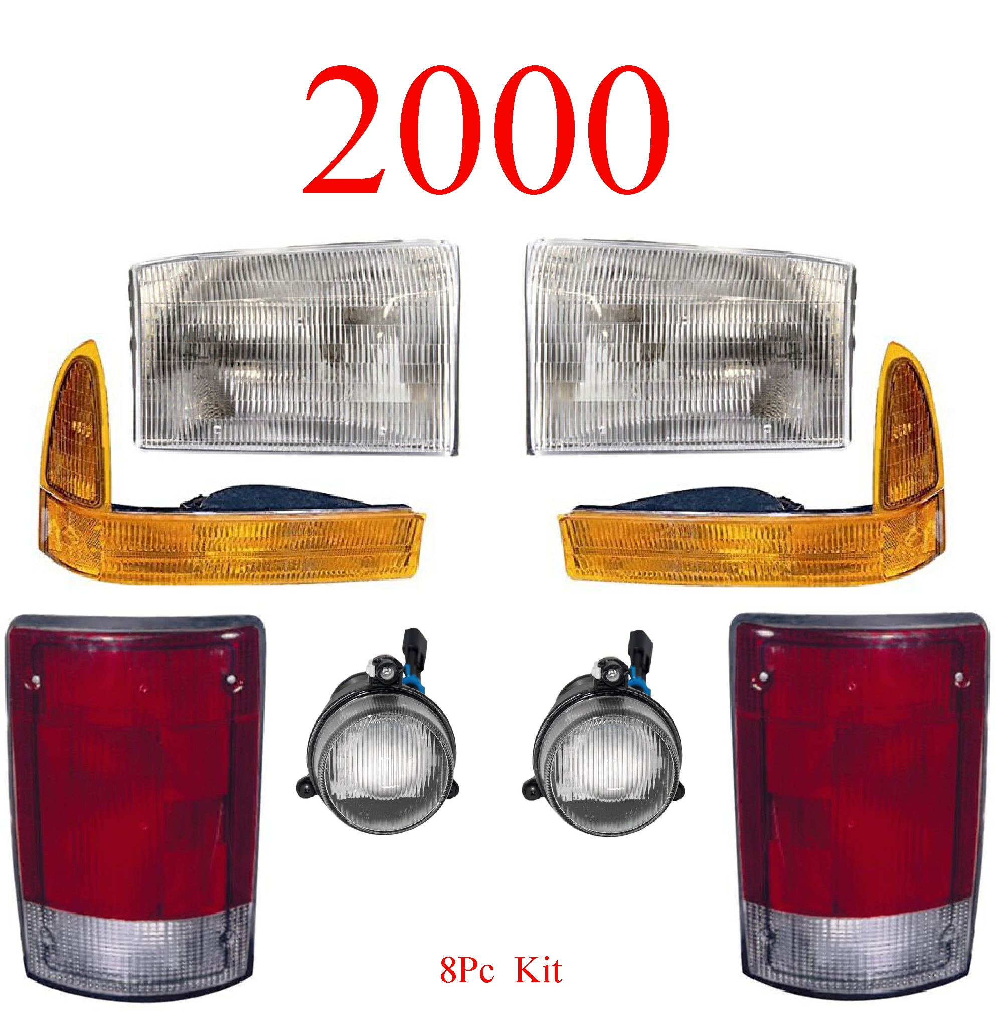 00 Ford Excursion 8Pc Head, Park, Fog & Tail Light Kit