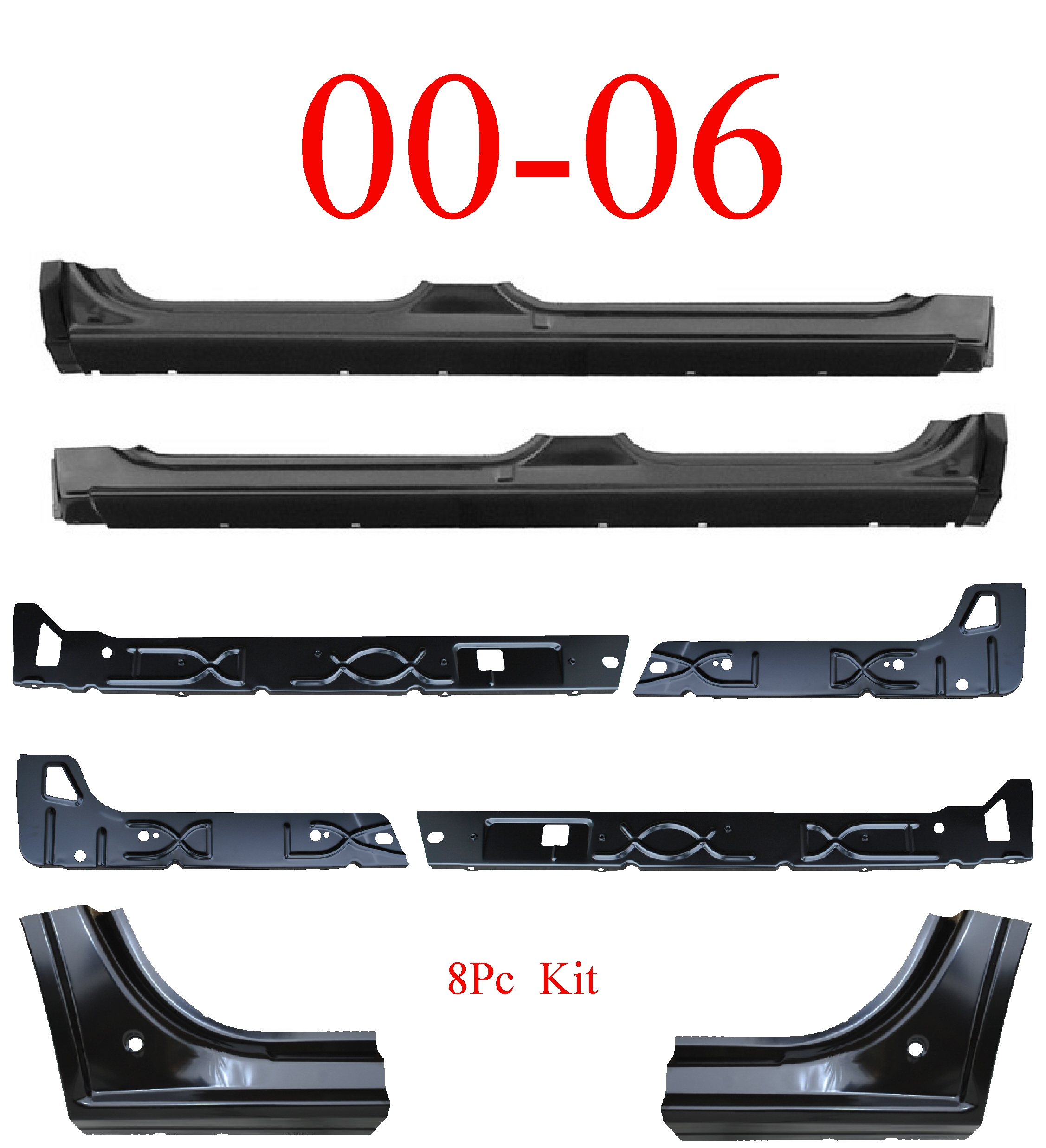 00-06 Chevy Tahoe 8Pc Extended Rocker, Inner & Dog Leg Kit