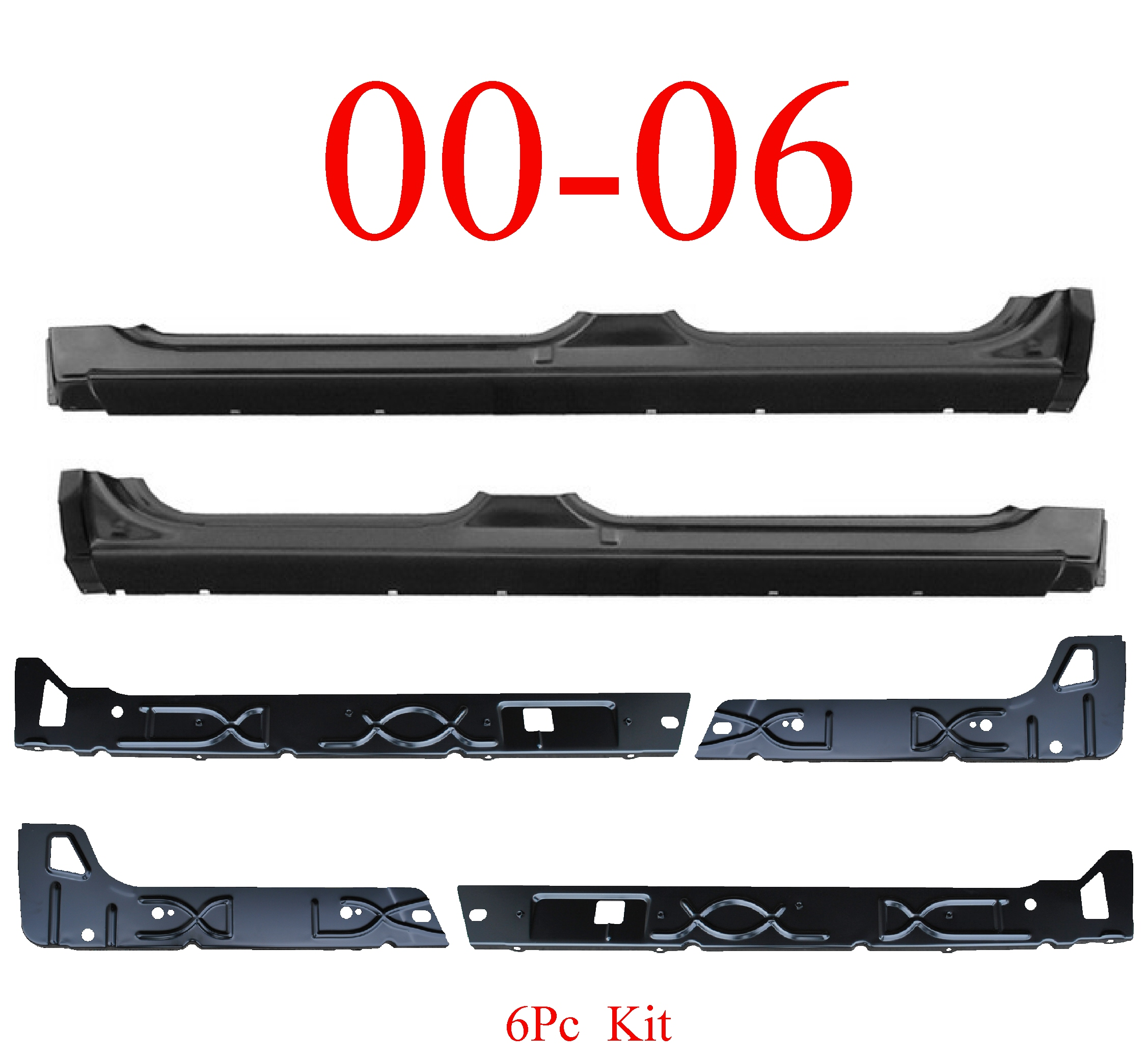 00-06 Chevy SUV 6Pc Inner & Outer Extended Rocker Panel
