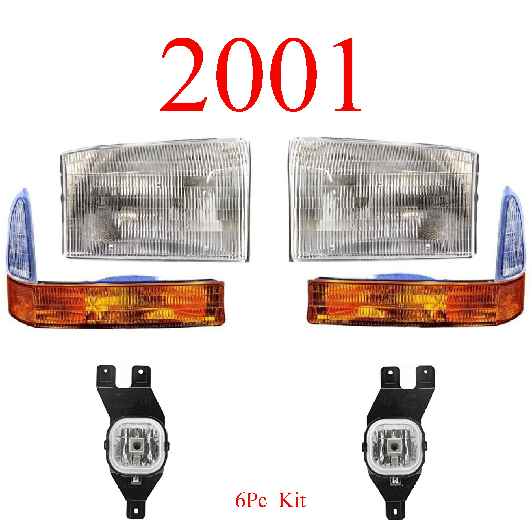 01 Ford Excursion 6Pc Head, Park & Fog Light Kit