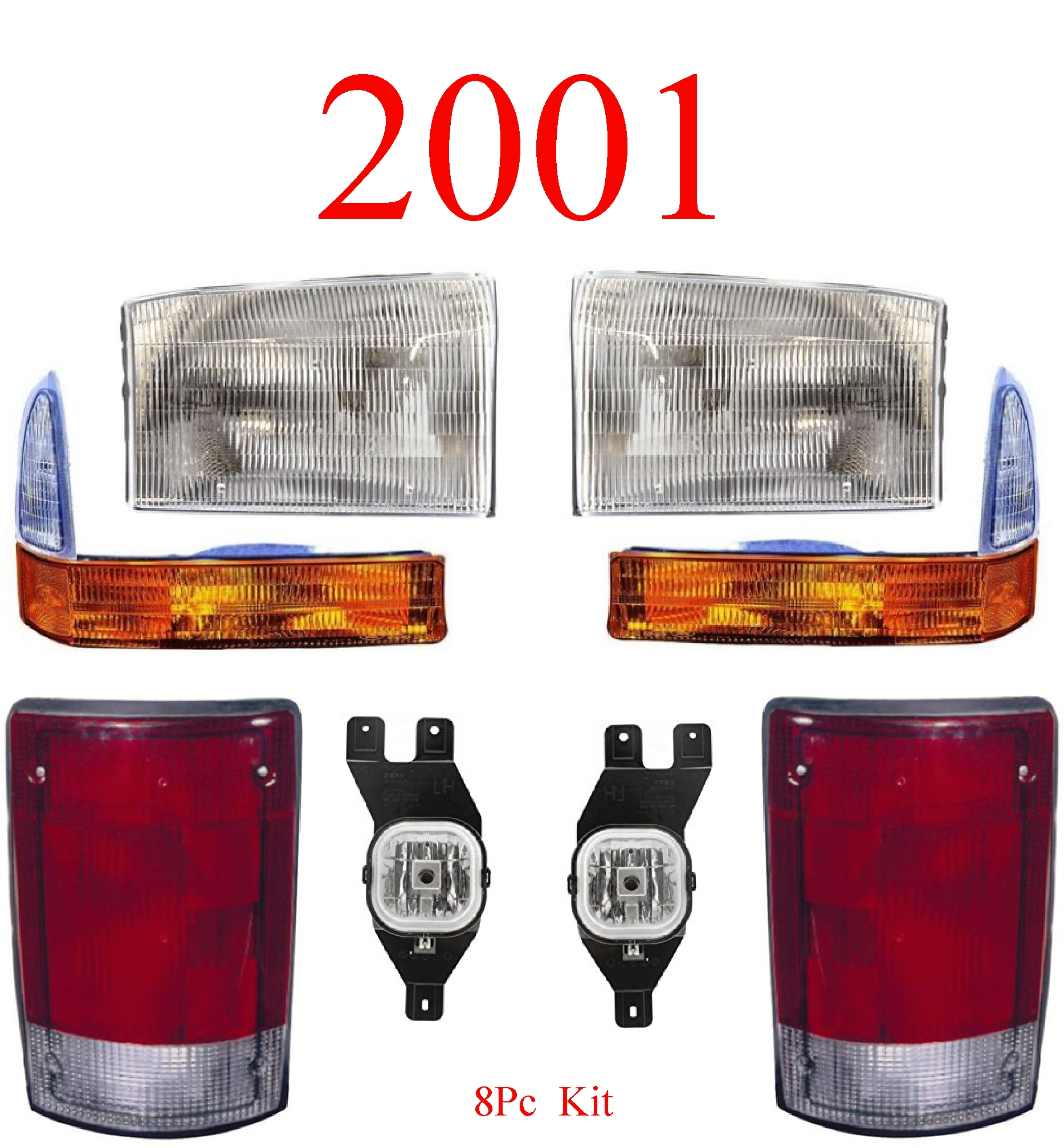 01 Ford Excursion 8Pc Head, Park, Fog & Tail Light Kit
