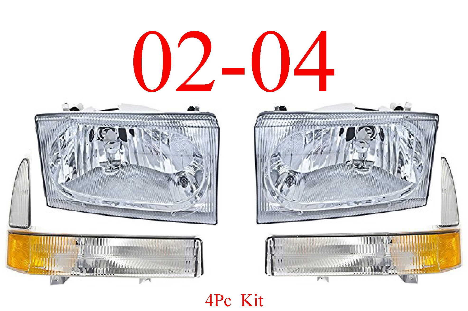 02-04 Ford Excursion 4Pc Head & Park Light Kit