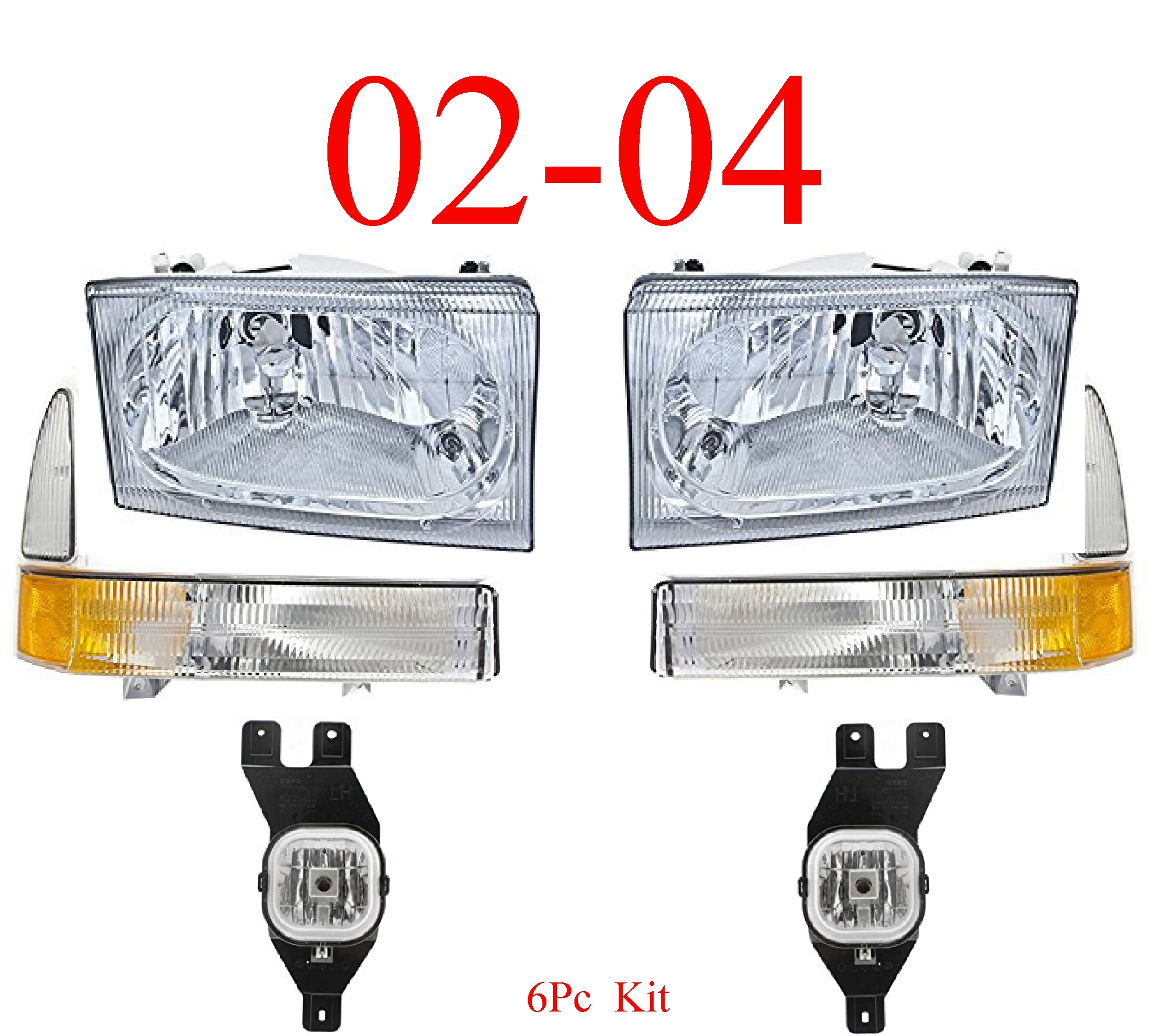 02-04 Ford Excursion 6Pc Head, Park & Fog Light Kit