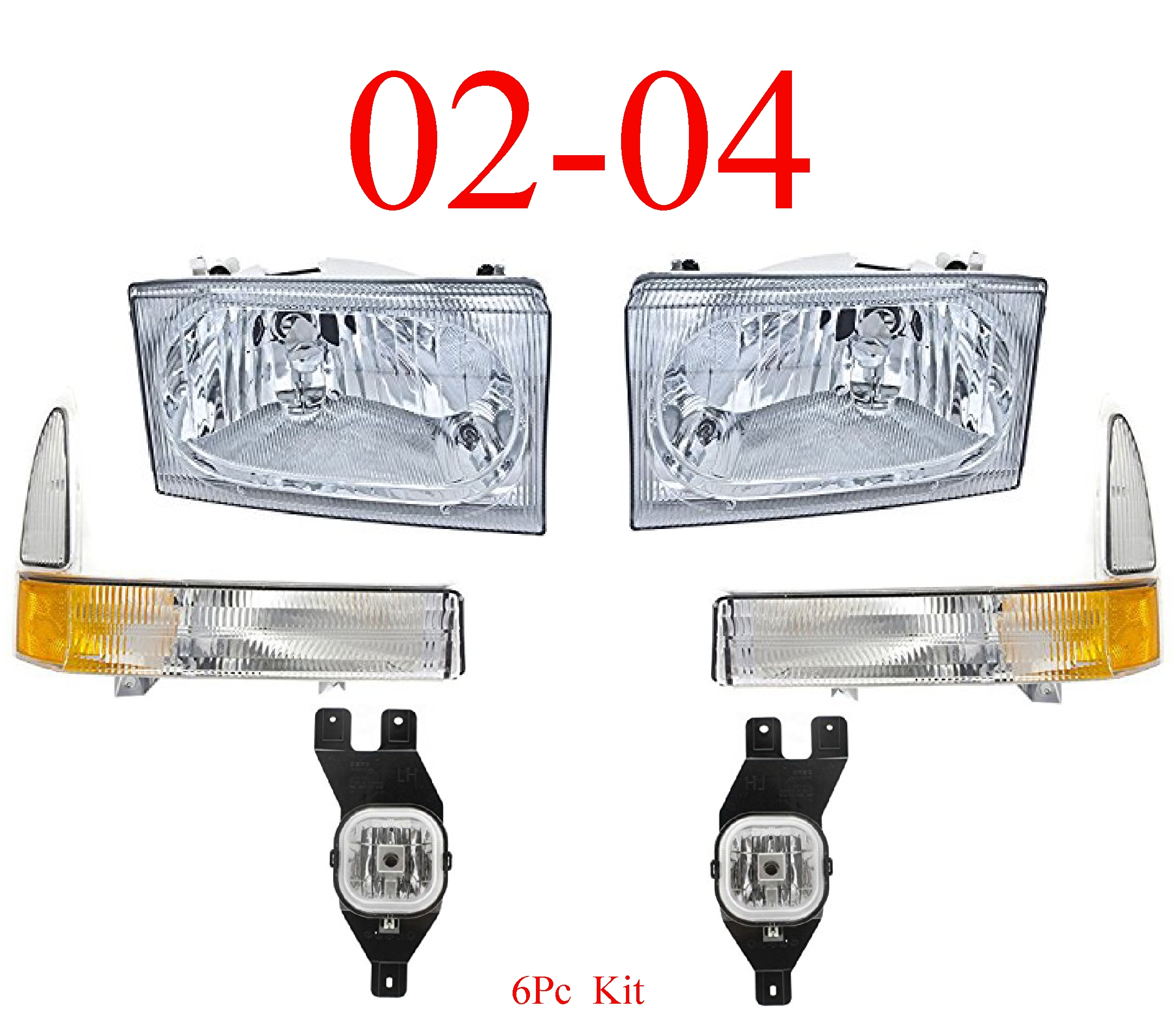 02-04 Ford Super Duty 6Pc Head, Park & Fog Light Kit