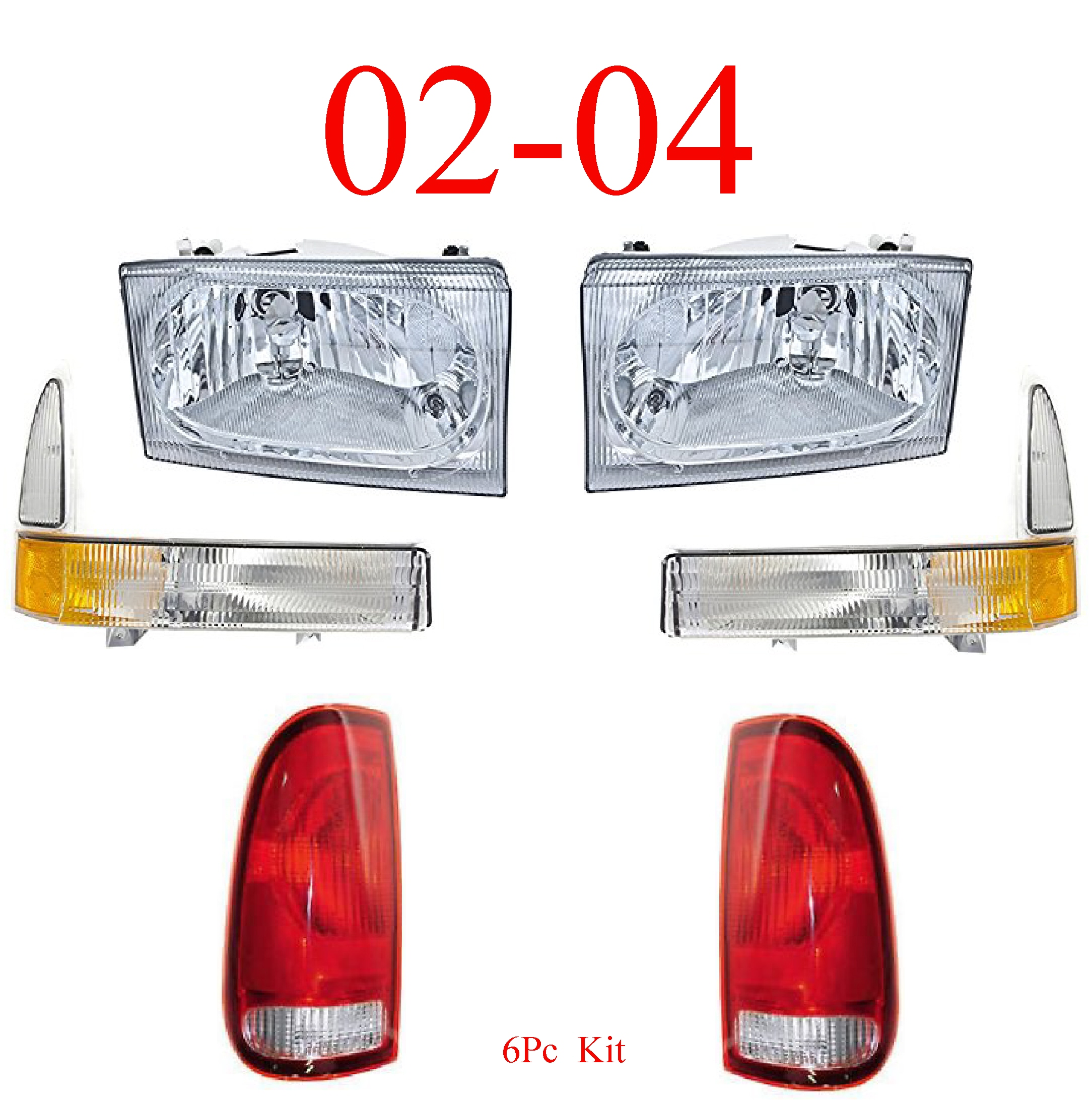 02-04 Ford Super Duty 6Pc Head, Park & Tail Light Kit