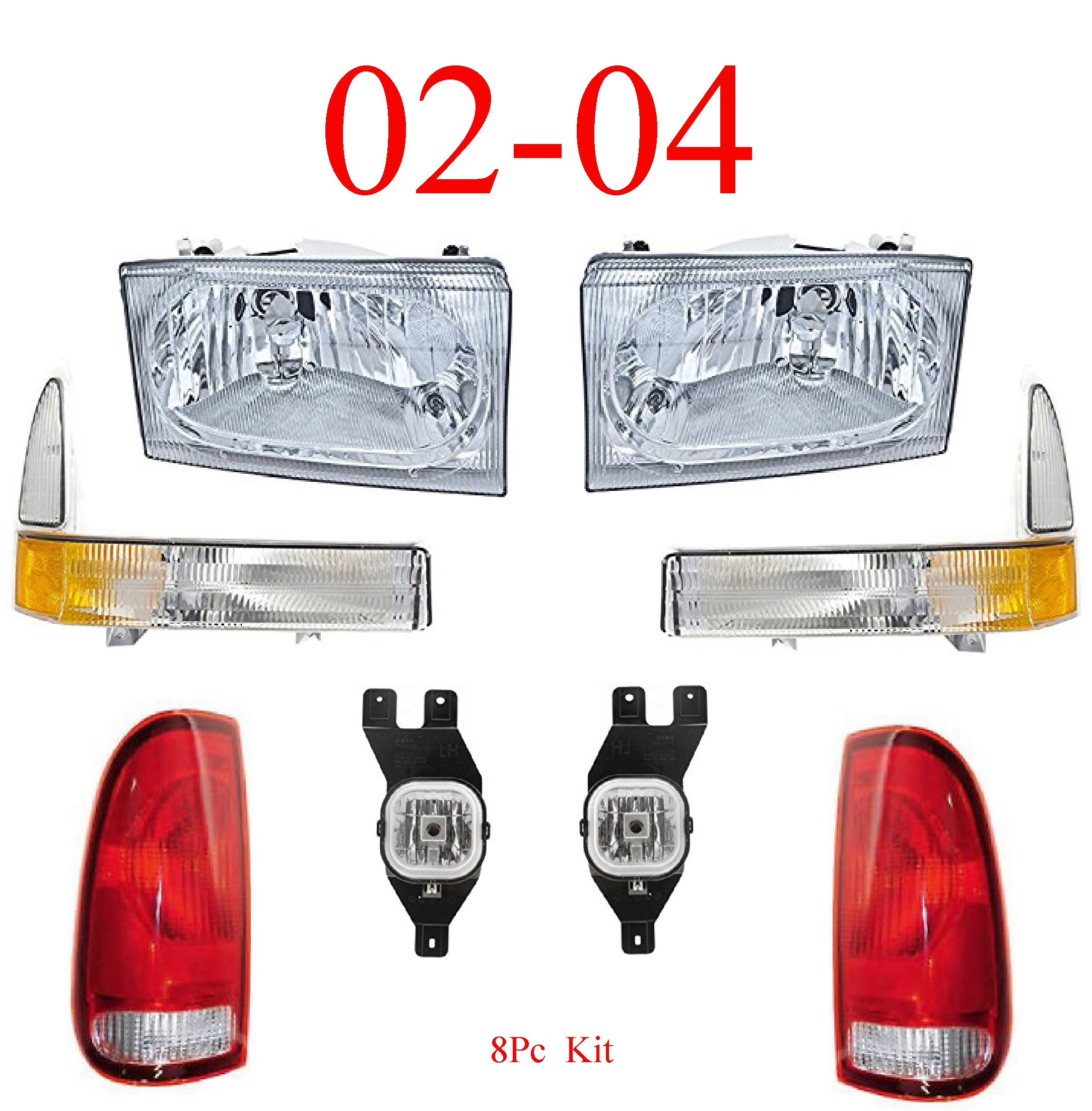 02-04 Ford Super Duty 8Pc Head, Park, Fog & Tail Light Kit