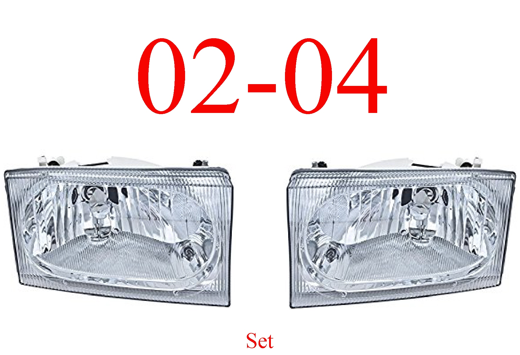 02-04 Ford Super Duty 2Pc Head Light Set
