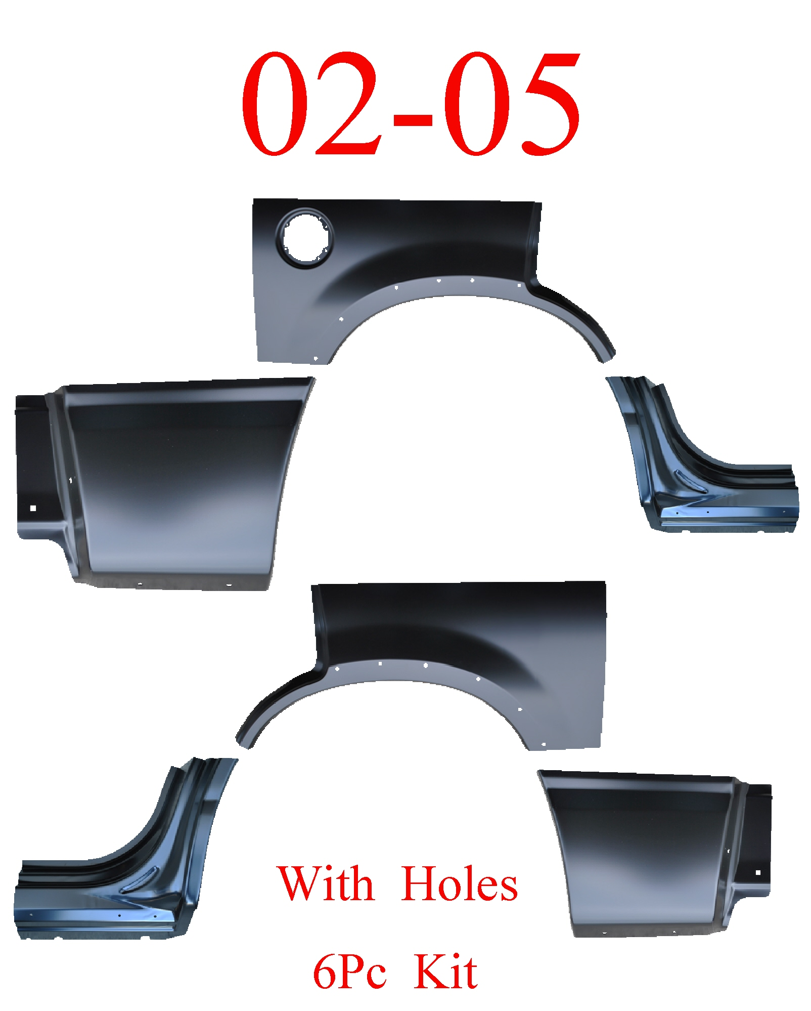 02-05 Explorer W/ Holes 6Pc Dog Leg, Arch & Lower Quarter Kit