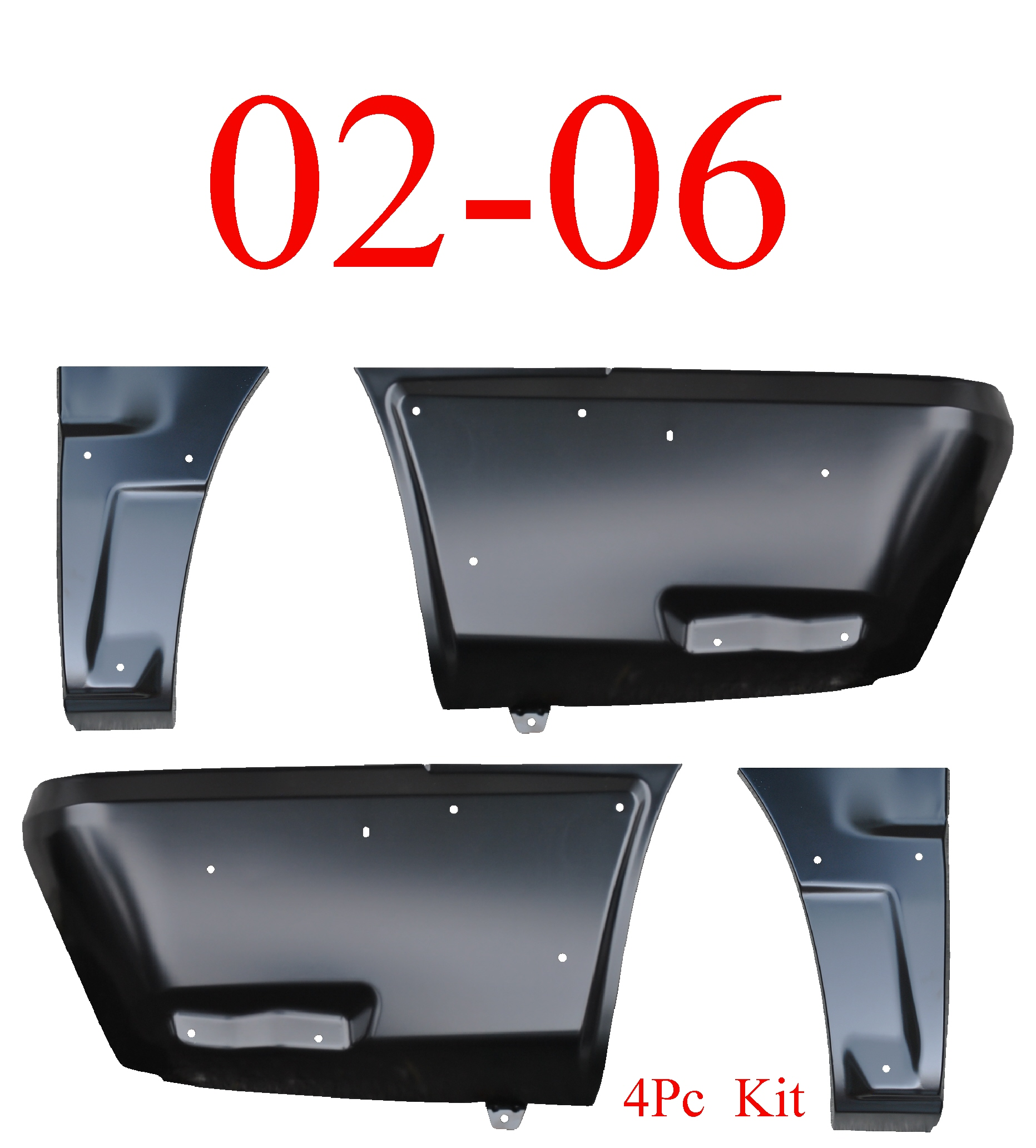 02-06 Chevy Avalanche 4Pc Front & Rear Lower Quarter W/Cladding