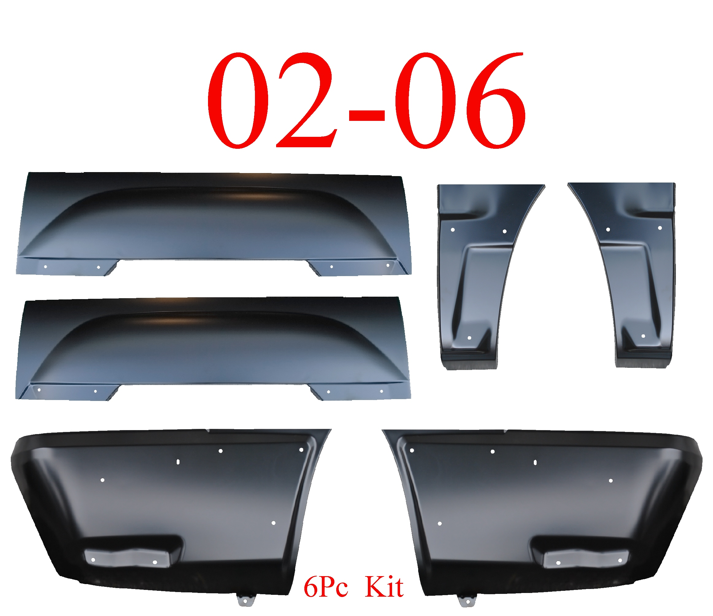02-06 Chevy Avalanche 6Pc Lower Quarter & Upper Arch W/Cladding