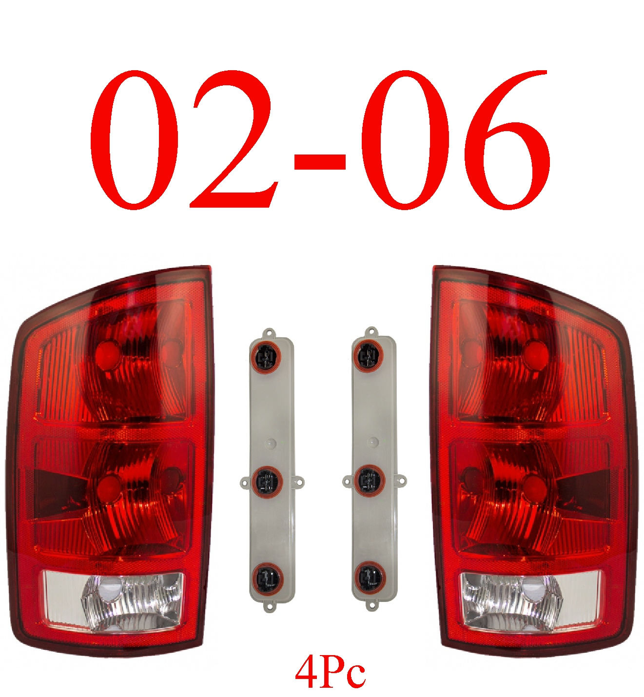 02-06 Dodge Tail Light Set, Assembly W/ Connector Plate & Bulbs
