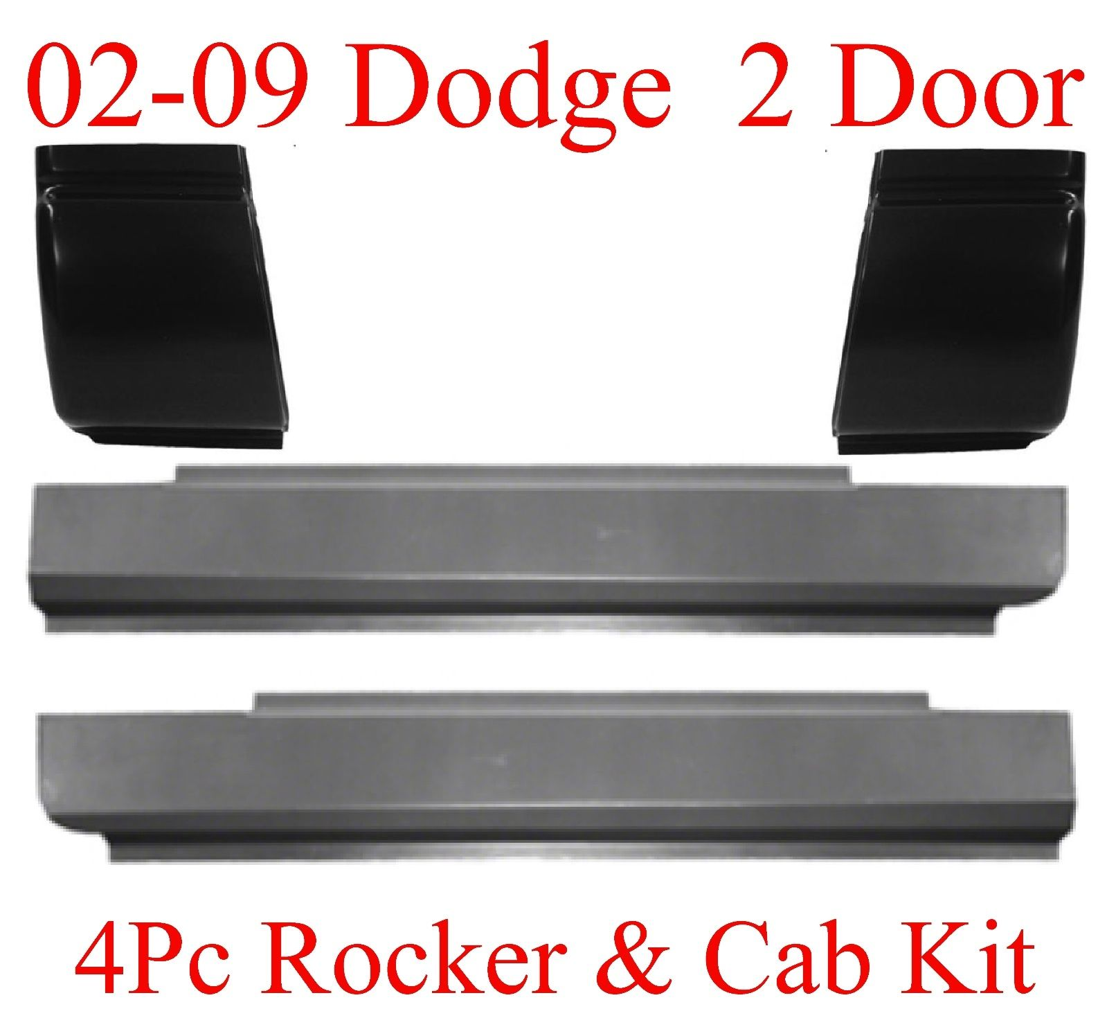 02-09 Dodge 4Pc Regular Cab Slip-On Rocker & Cab Corner Kit