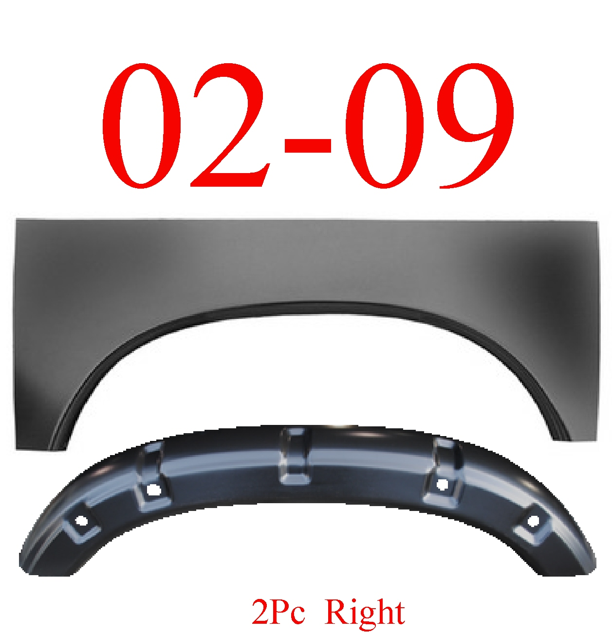 02-09 Dodge Ram 2Pc Right Arch & Outer Wheelhouse Arch Panel