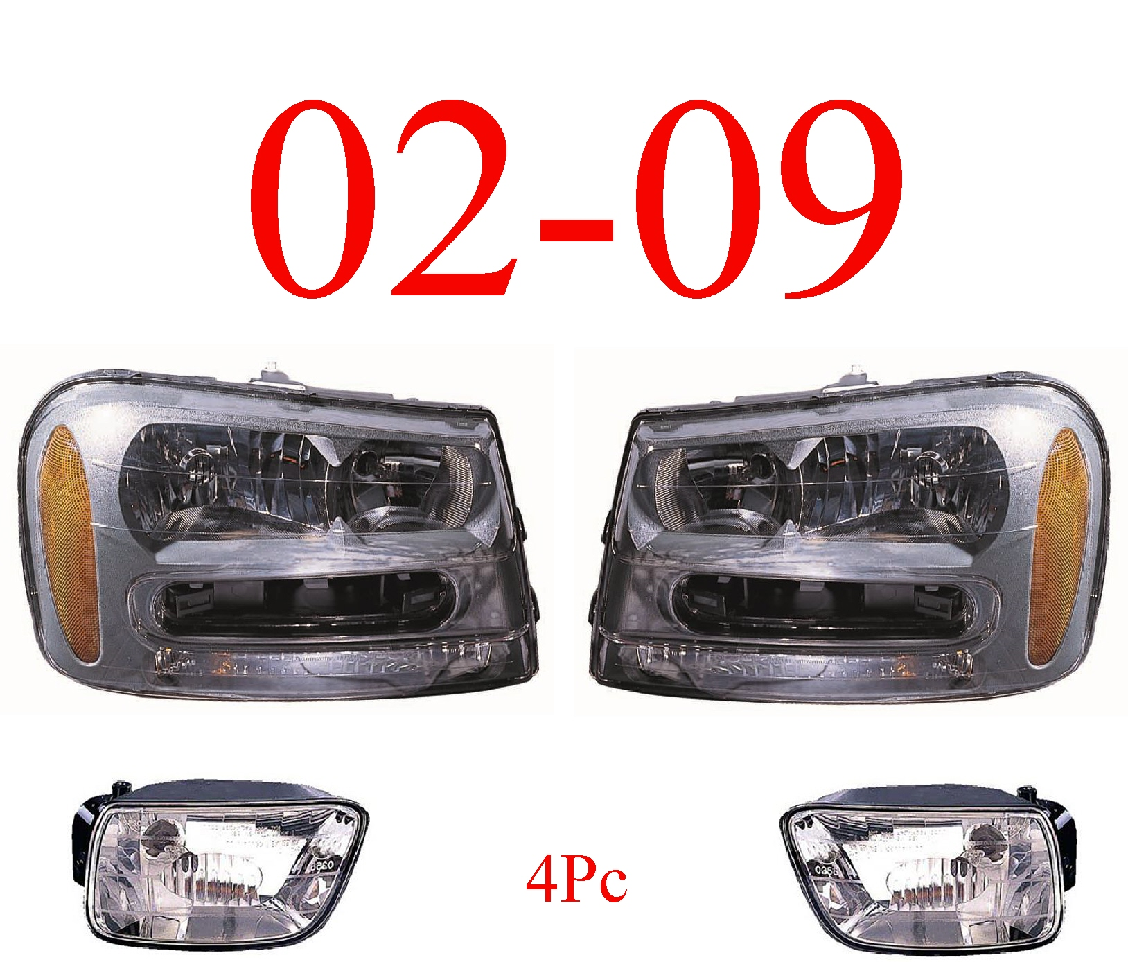02-09 Trailblazer 4Pc Head & Fog Light Assembly