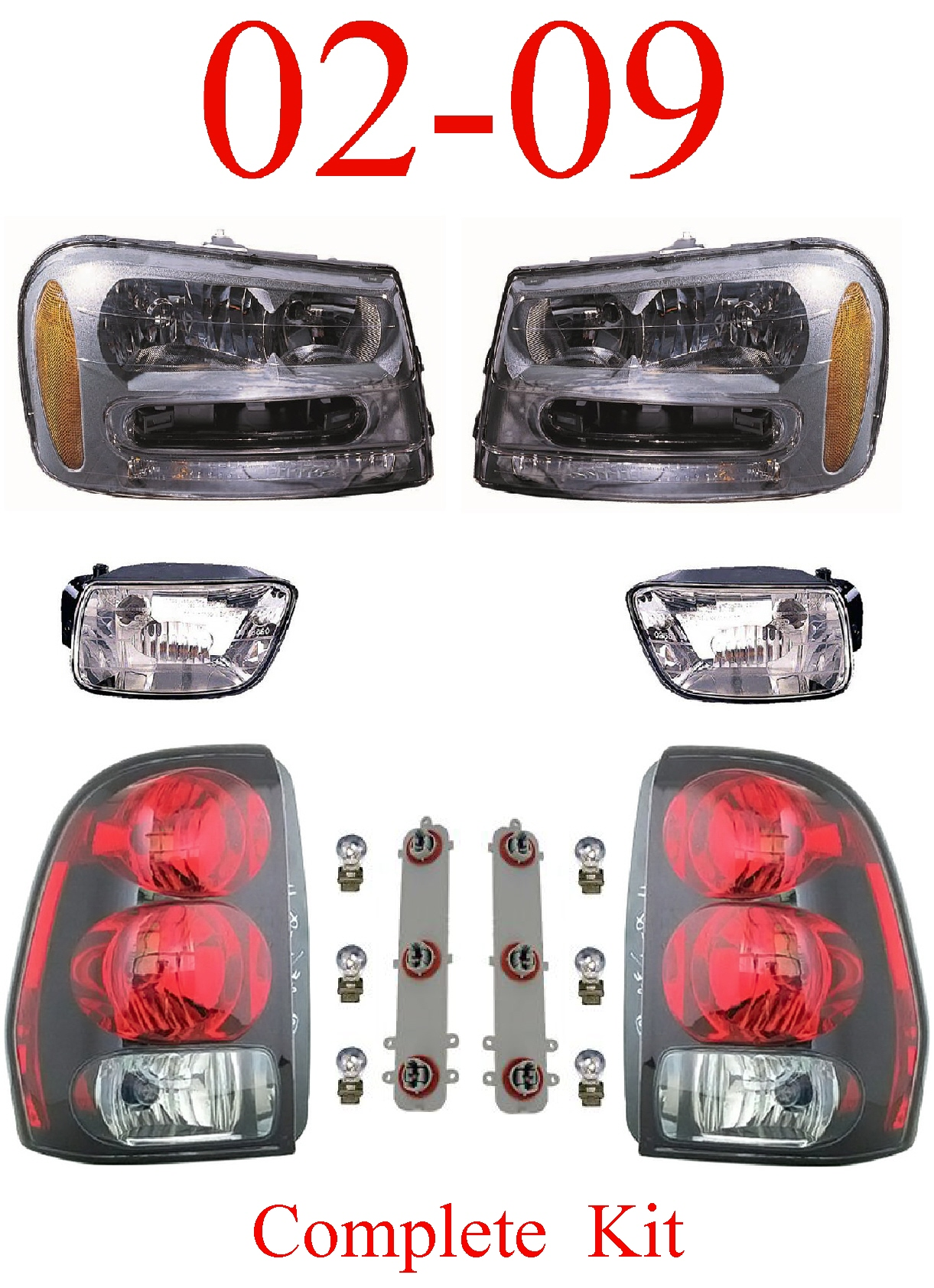 02-09 Trailblazer 6Pc Head, Fog & Tail Light Assembly