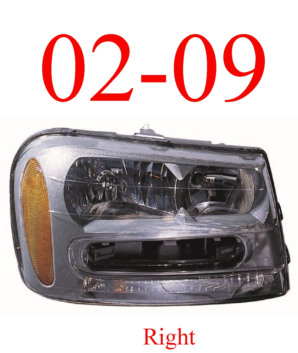 02-09 Trailblazer Right Head Light Assembly