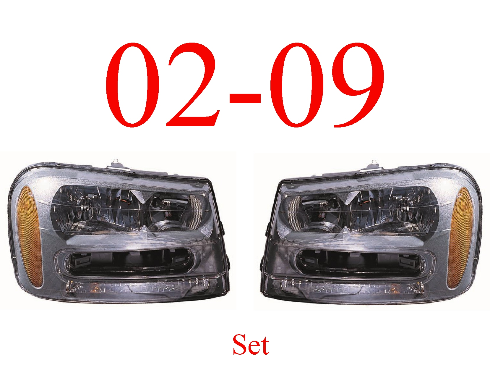 02-09 Trailblazer Head Light Set, Assembly