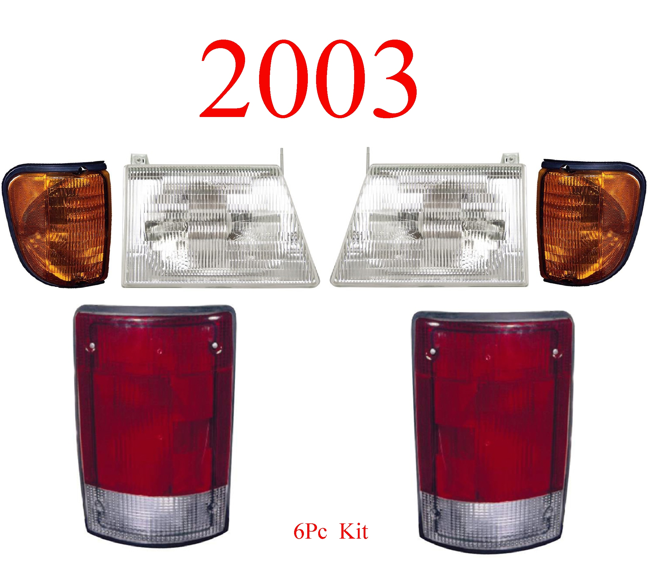 03 Ford Econoline 6Pc Head, Side & Tail Light Kit