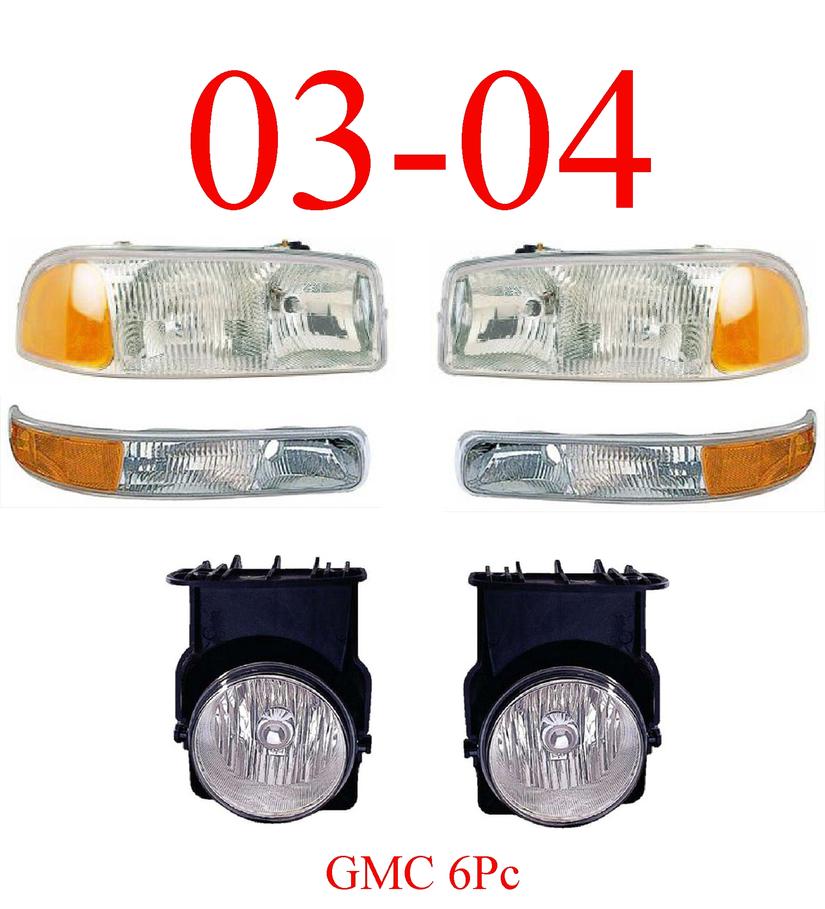 03-04 GMC Truck 6Pc Head, Park & Fog Light Assembly