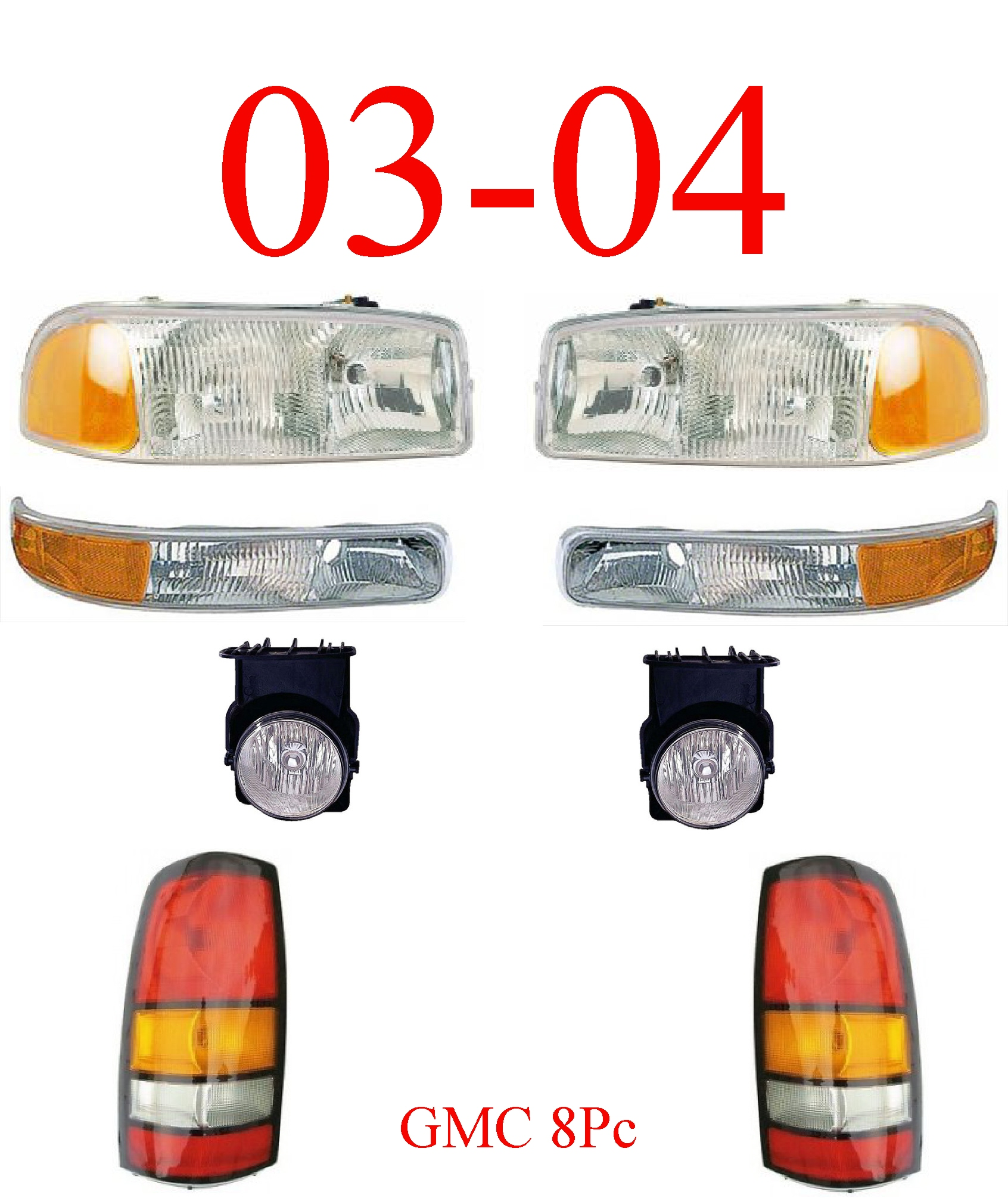03-04 GMC Truck 8Pc Head, Park, Fog & Tail Light Assembly