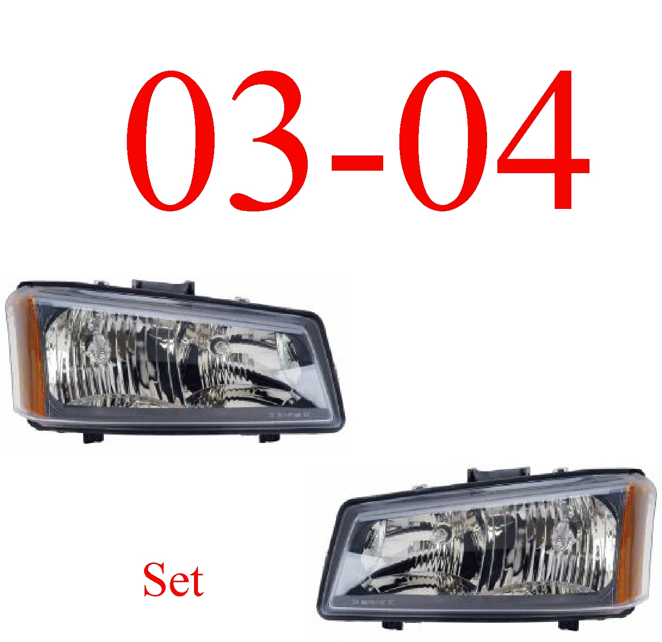 03-04 Chevy Head Light Set, Silverado, Avalanche