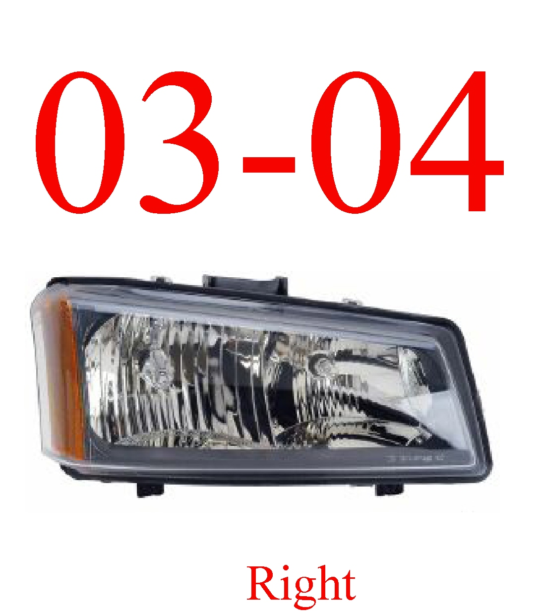 03-04 Chevy Right Head Light, Silverado, Avalanche