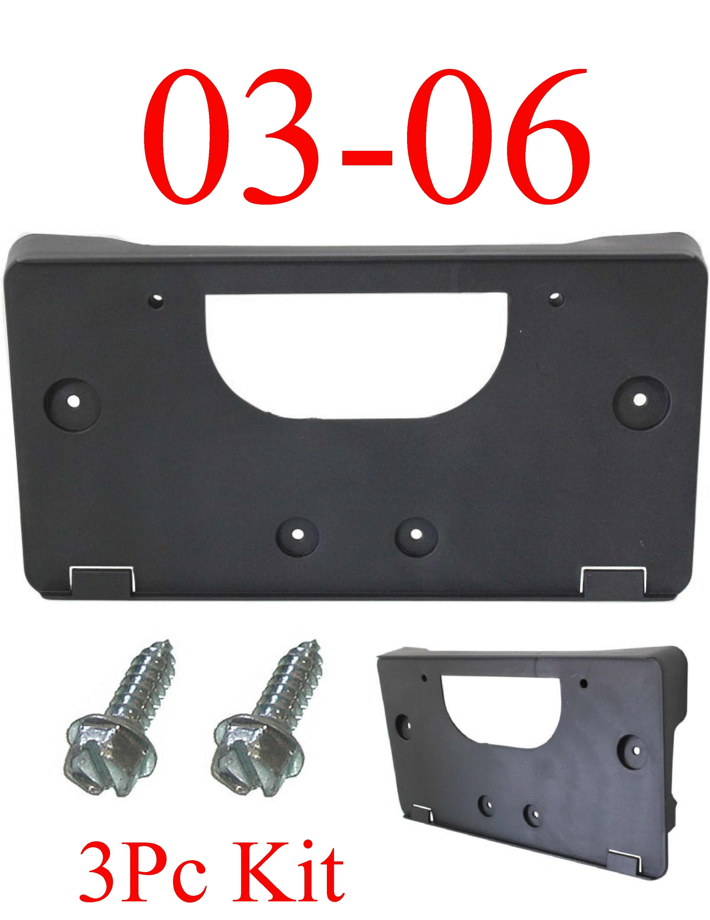 03-06 3Pc Chevy Silverado Front License Plate Bracket W Hardware