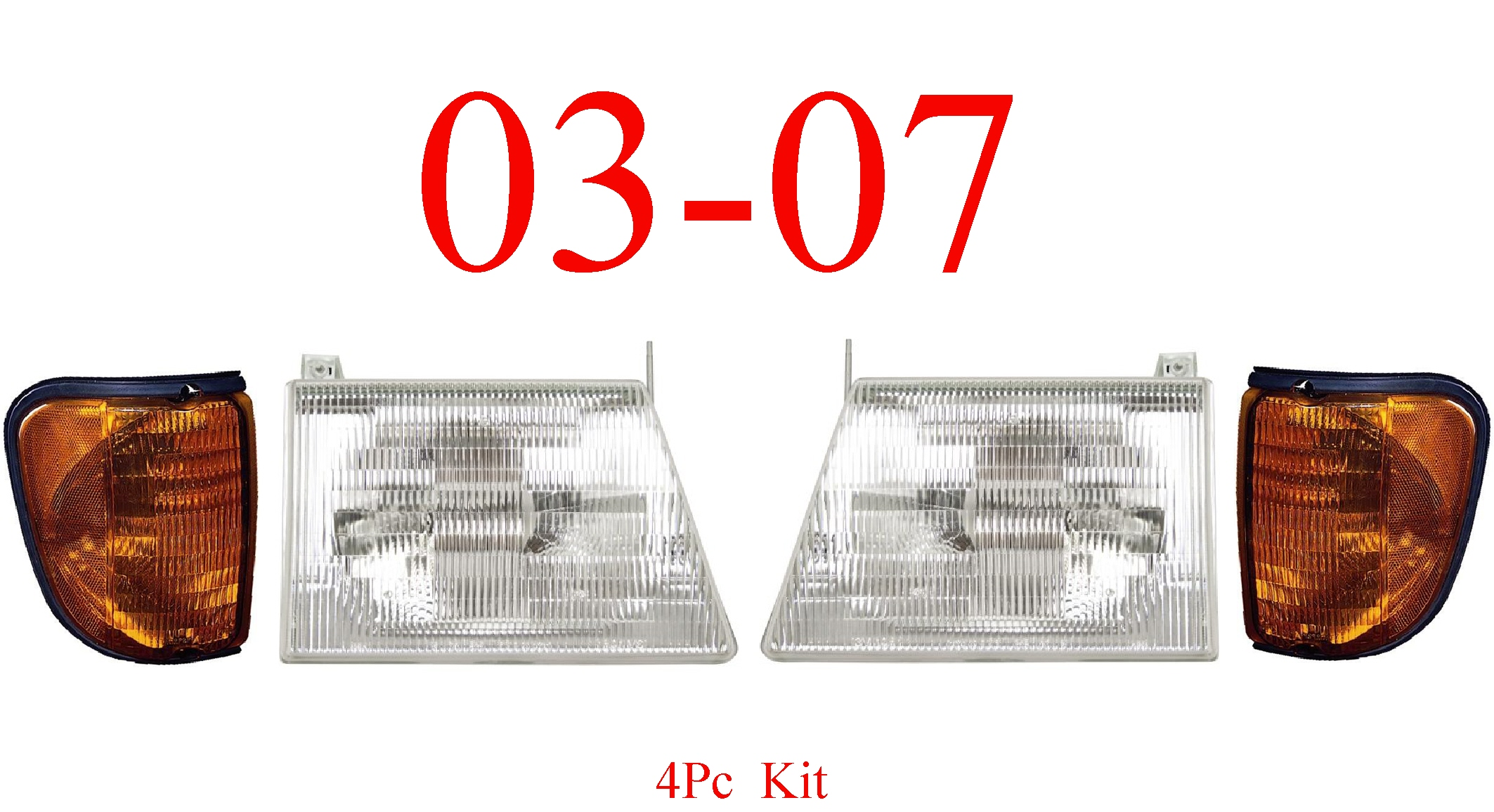 03-07 Ford Econoline 4Pc Head & Side Parking Light Kit