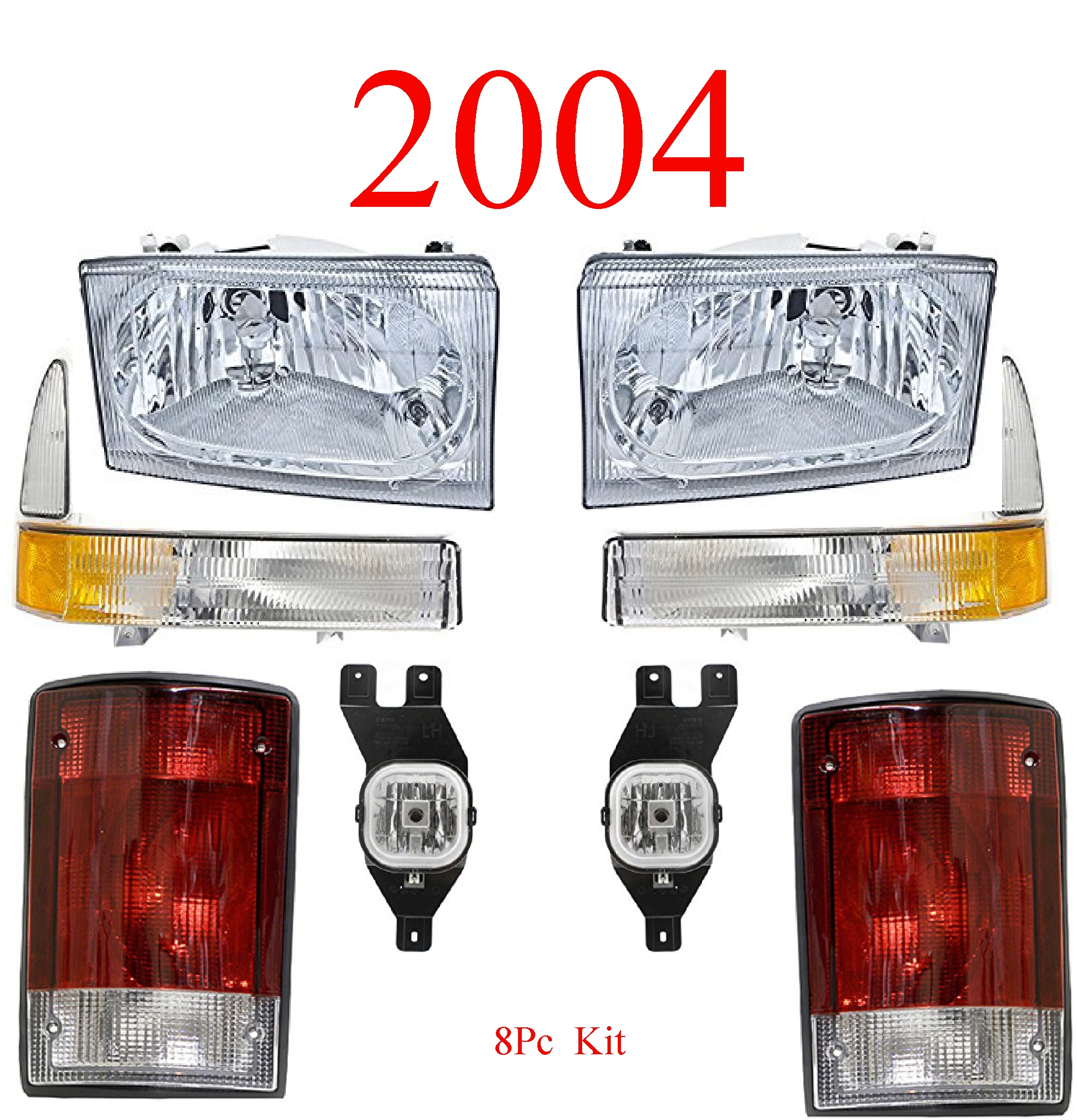 04 Ford Excursion 8Pc Head, Park, Fog & Tail Light Kit