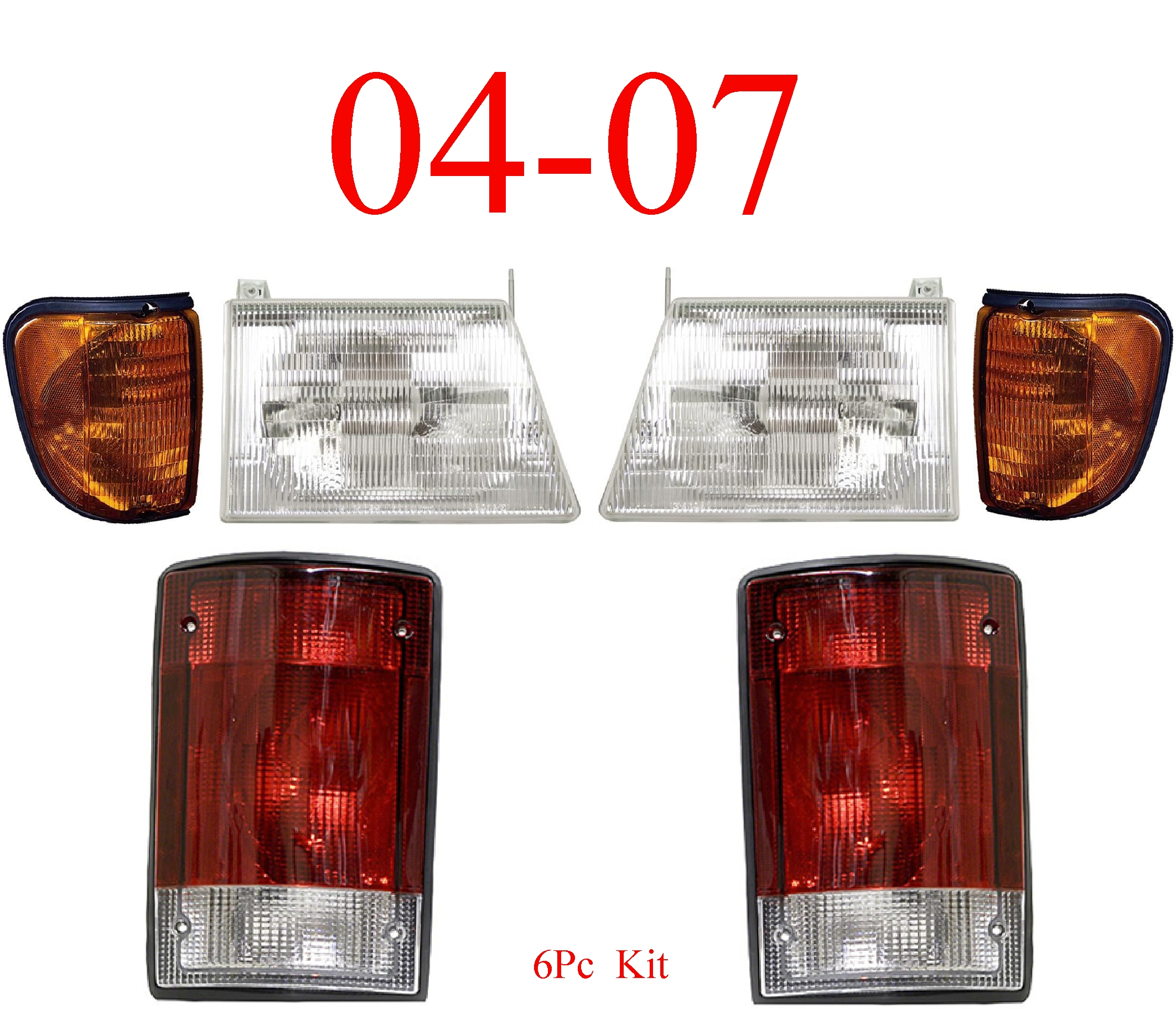 04-07 Ford Econoline 6Pc Head, Side & Tail Light Kit