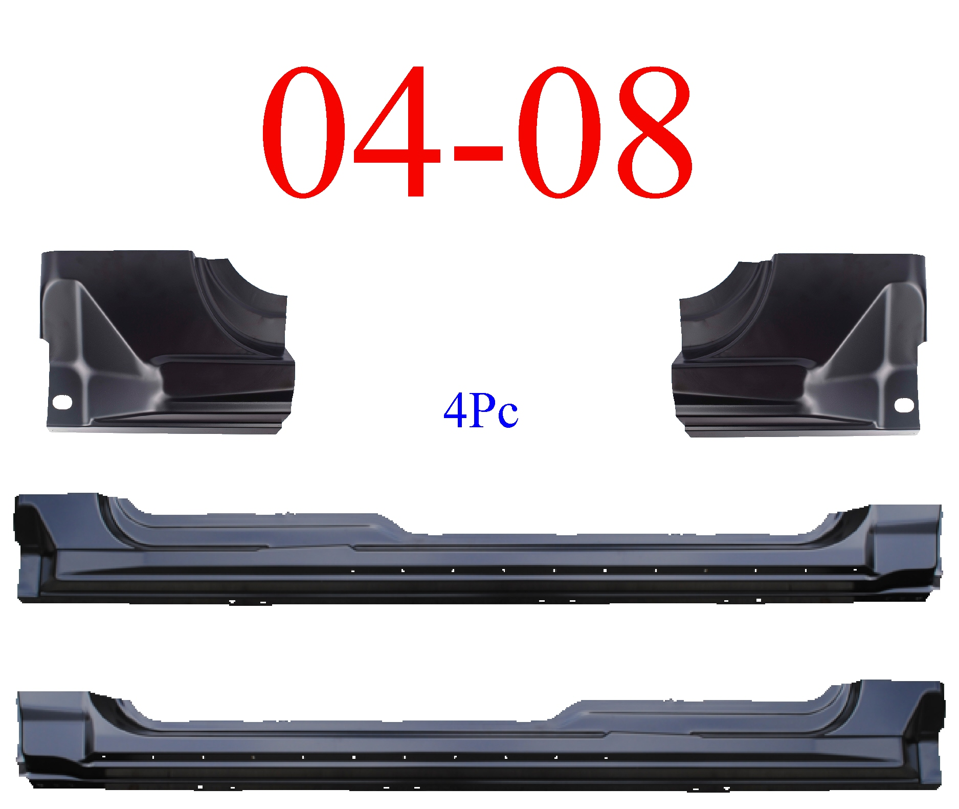 04-08 F150 4Pc Super Cab Extended Rocker & Super Cab Corner Set