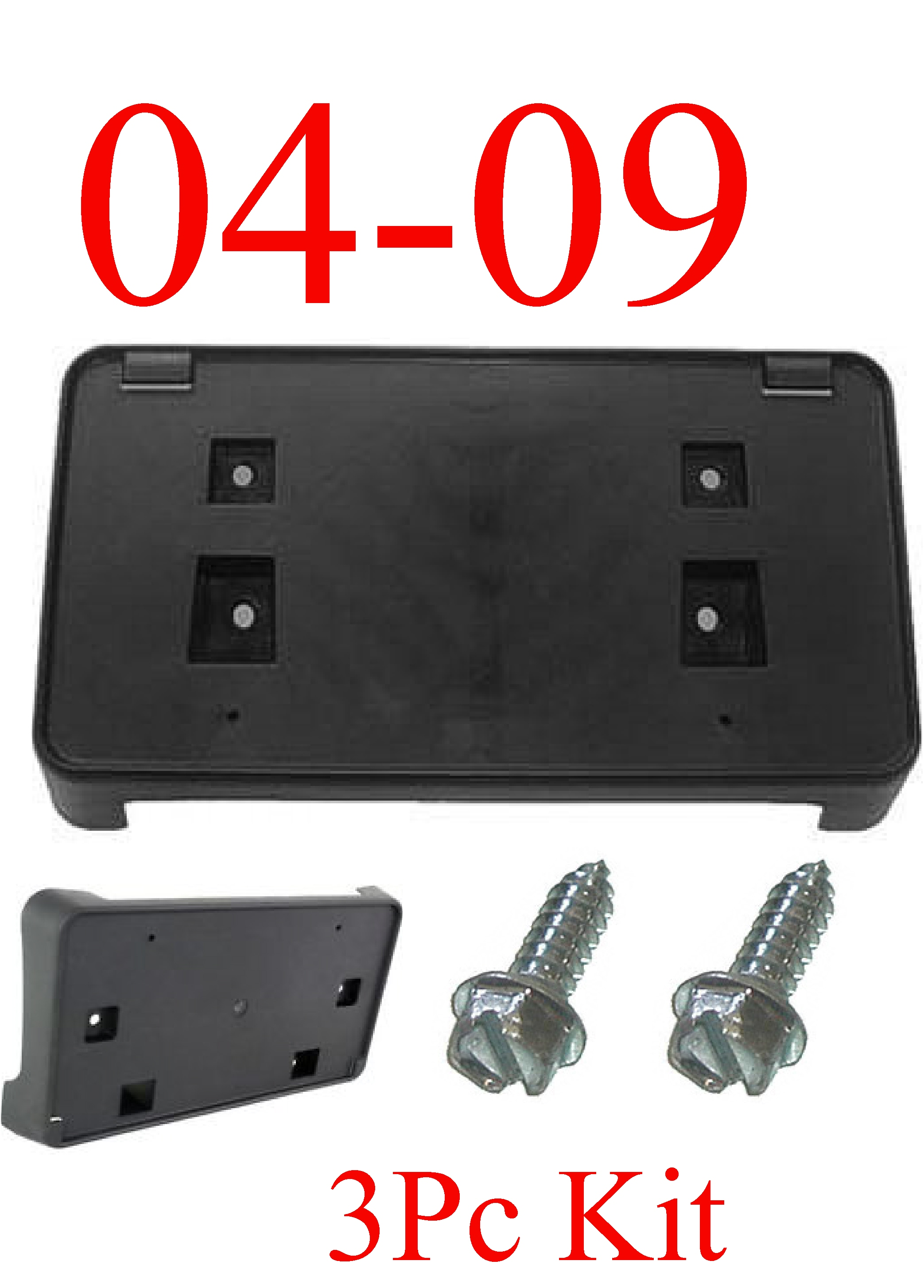 04-09 3Pc Dodge Ram Front License Plate Bracket W Hardware