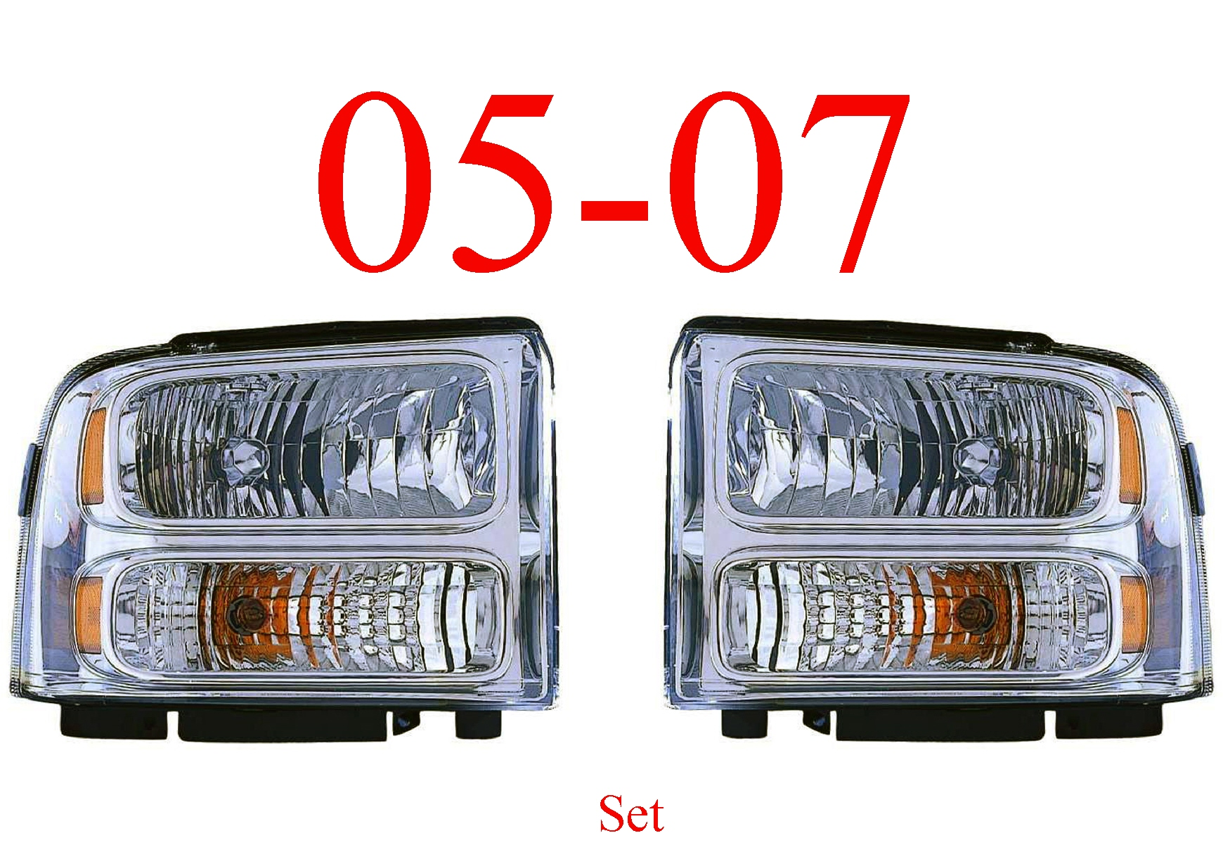 05 Ford Excursion Chrome Head Light Set