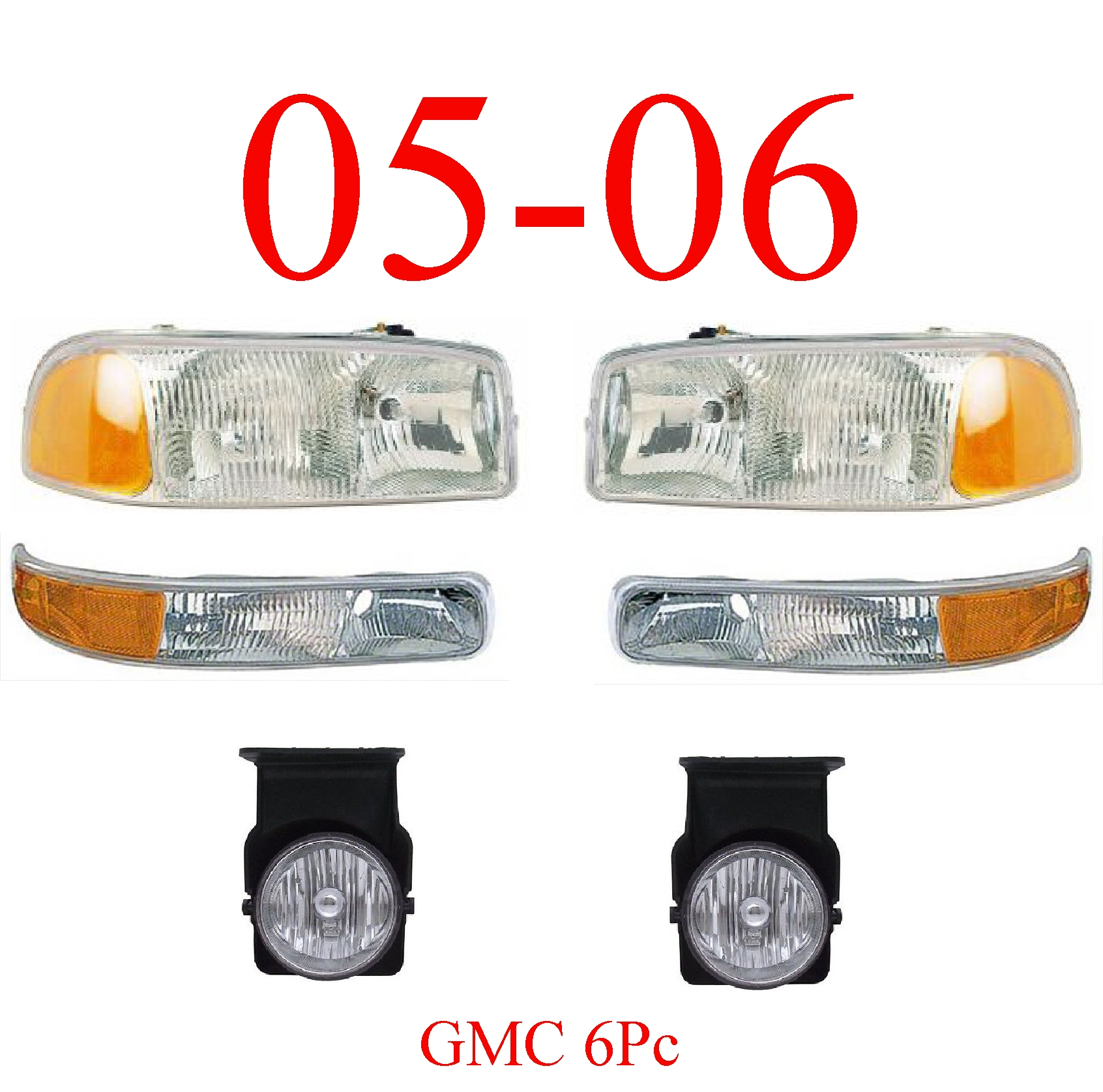 05-06 GMC Truck 6Pc Head, Park & Fog Light