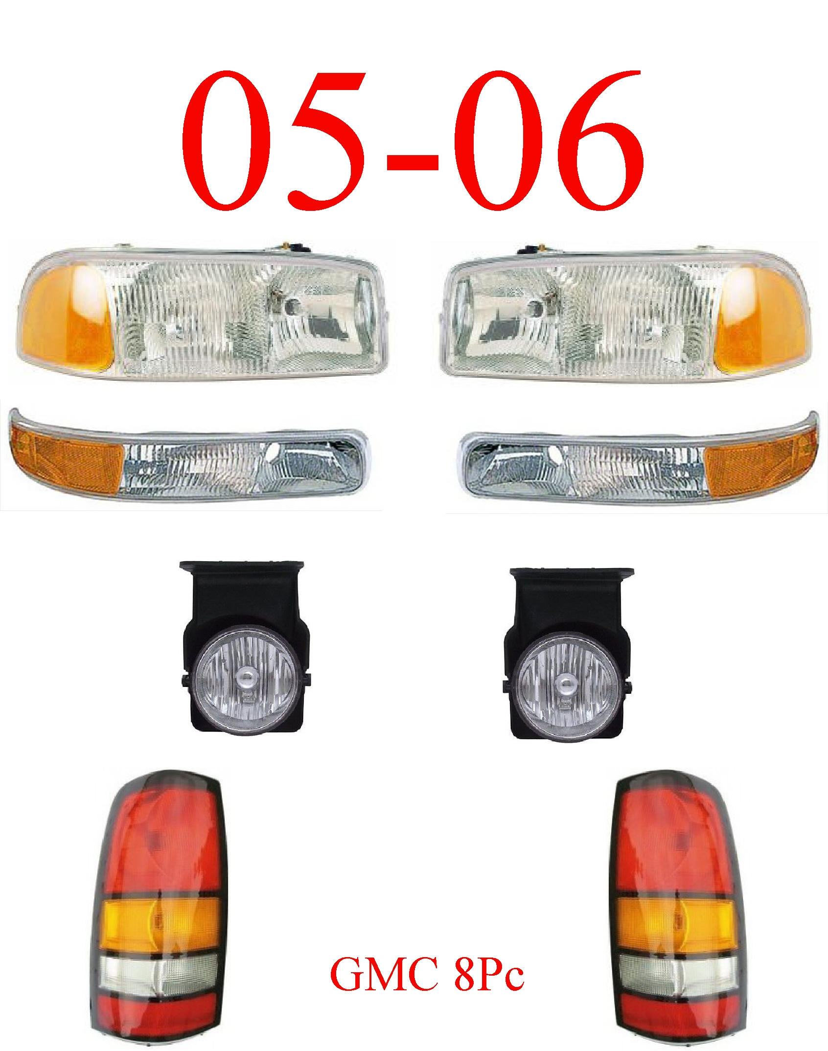 05-06 GMC Truck 8Pc Head, Park, Fog & Tail Light