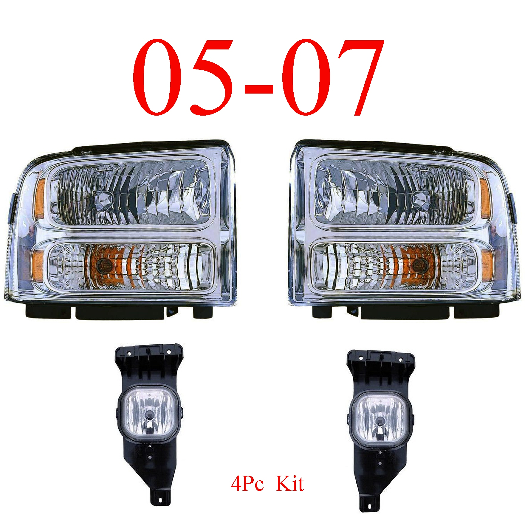 05-07 Ford Super Duty 4Pc Head & Fog Light Kit Chrome