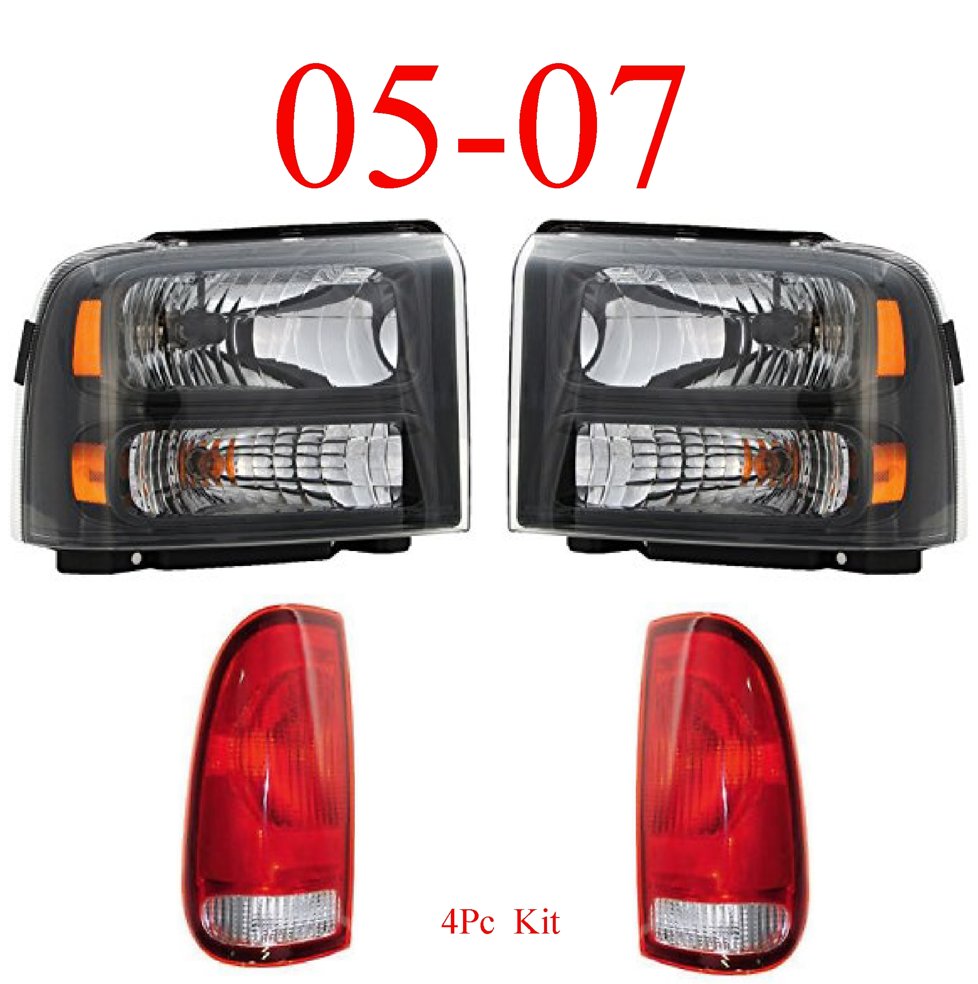 05-07 Ford Super Duty 4Pc Head & Tail Light Kit Harley Davidson
