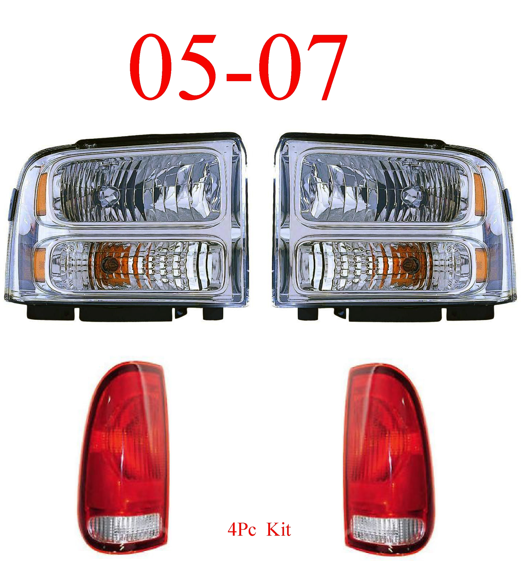 05-07 Ford Super Duty 4Pc Head & Tail Light Kit Chrome