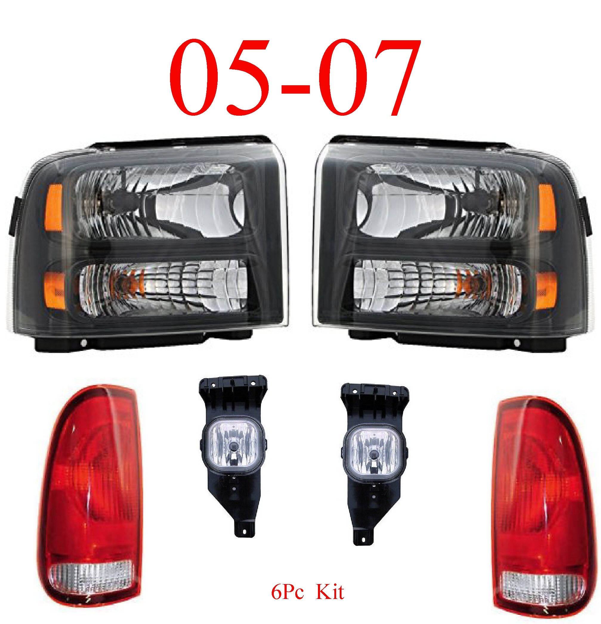 05-07 Ford Super Duty 6Pc Head, Fog & Tail Light Harley Davidson