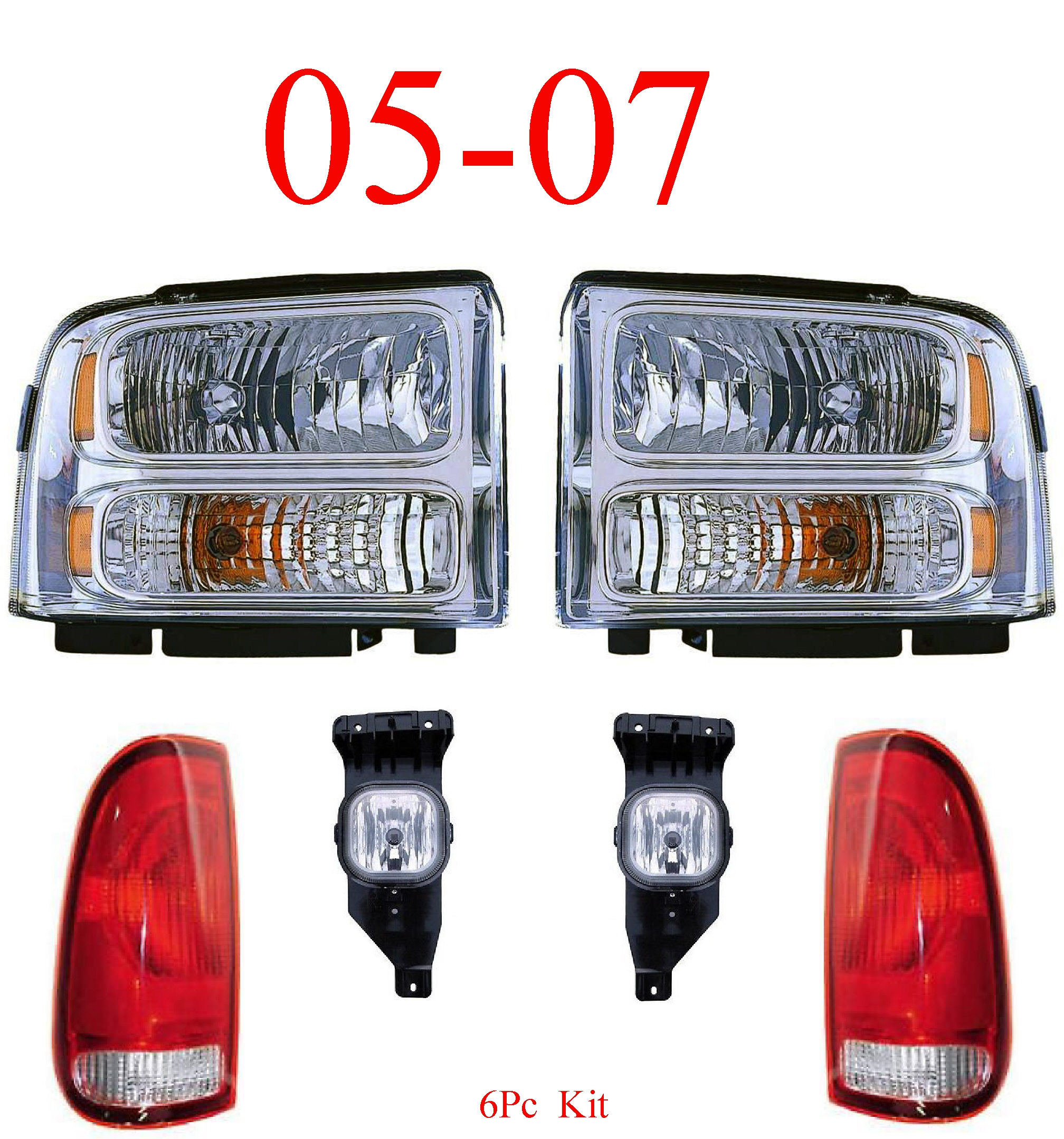 05-07 Ford Super Duty 6Pc Head, Fog & Tail Light Kit Chrome