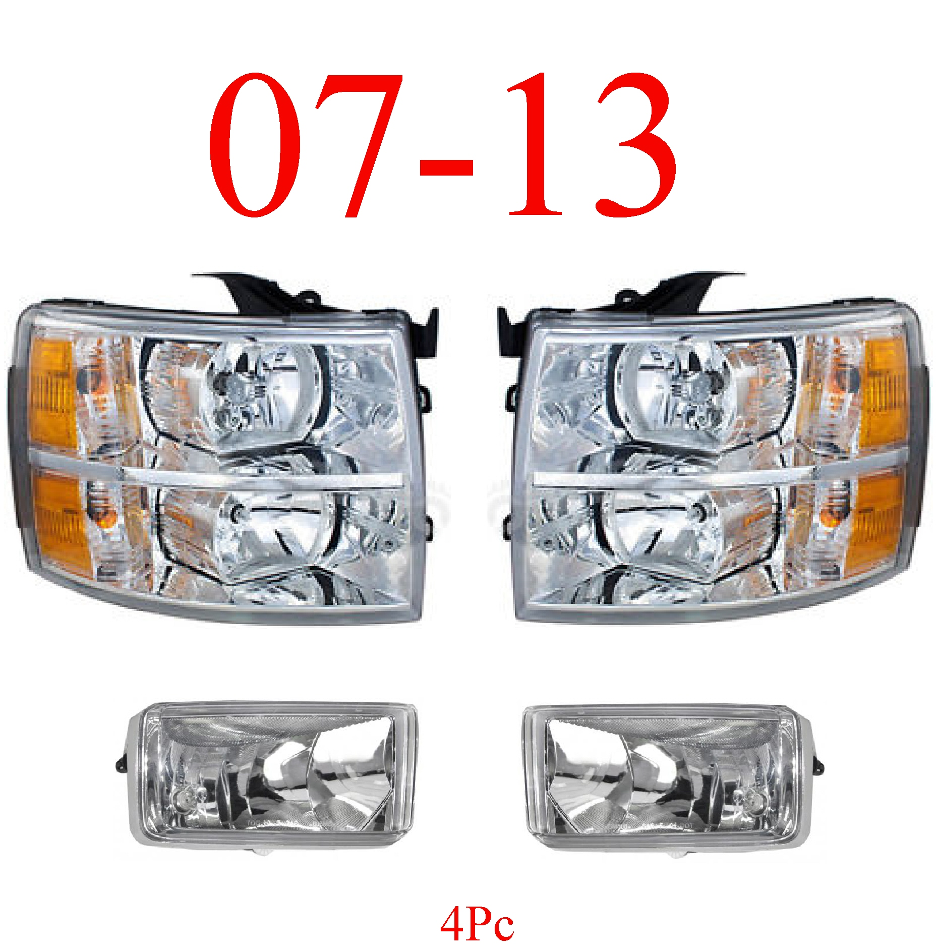 07-13 Chevy 4Pc Head & Fog Light Set