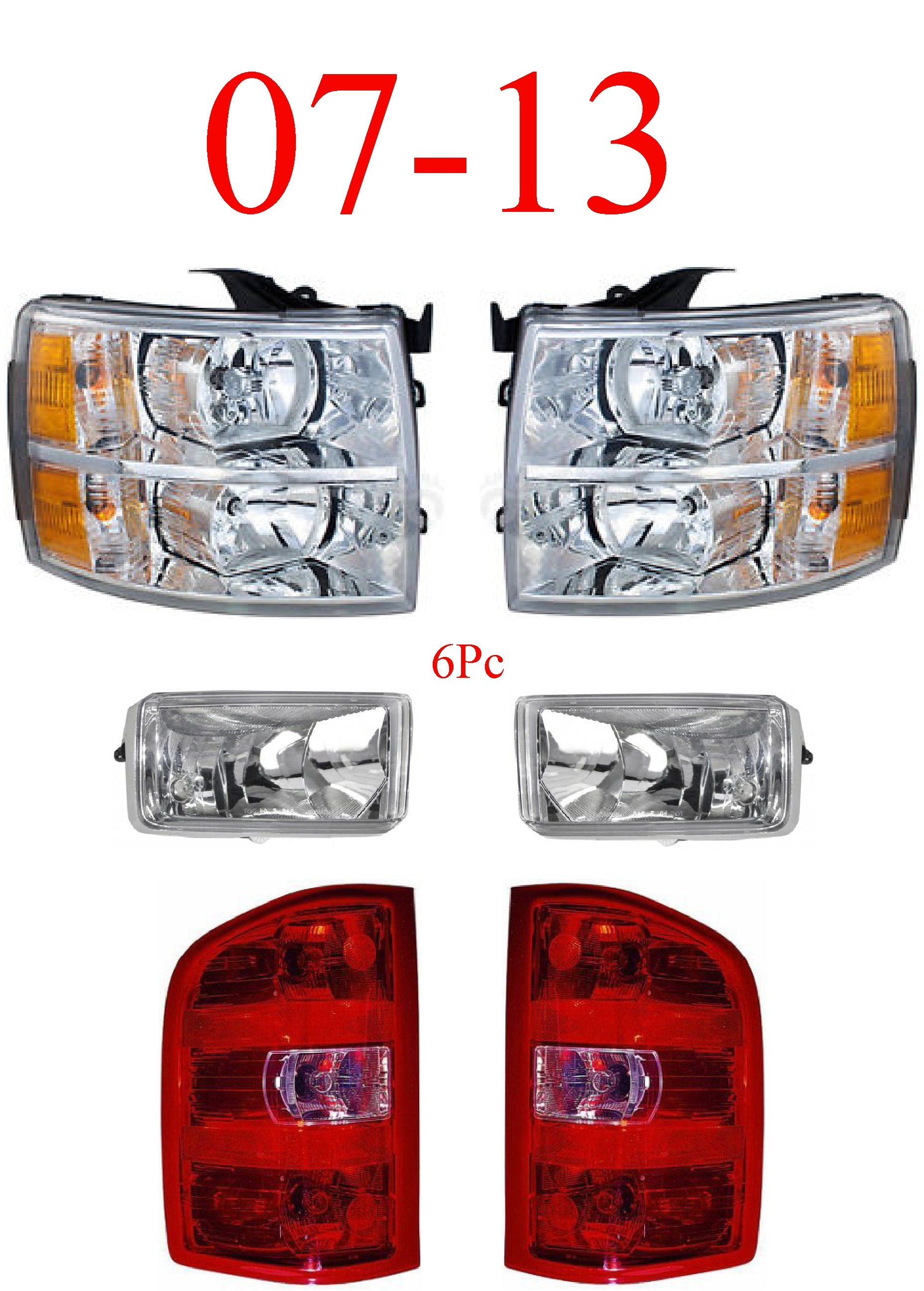 07-13 Chevy 6Pc Head, Fog & Tail Light Set