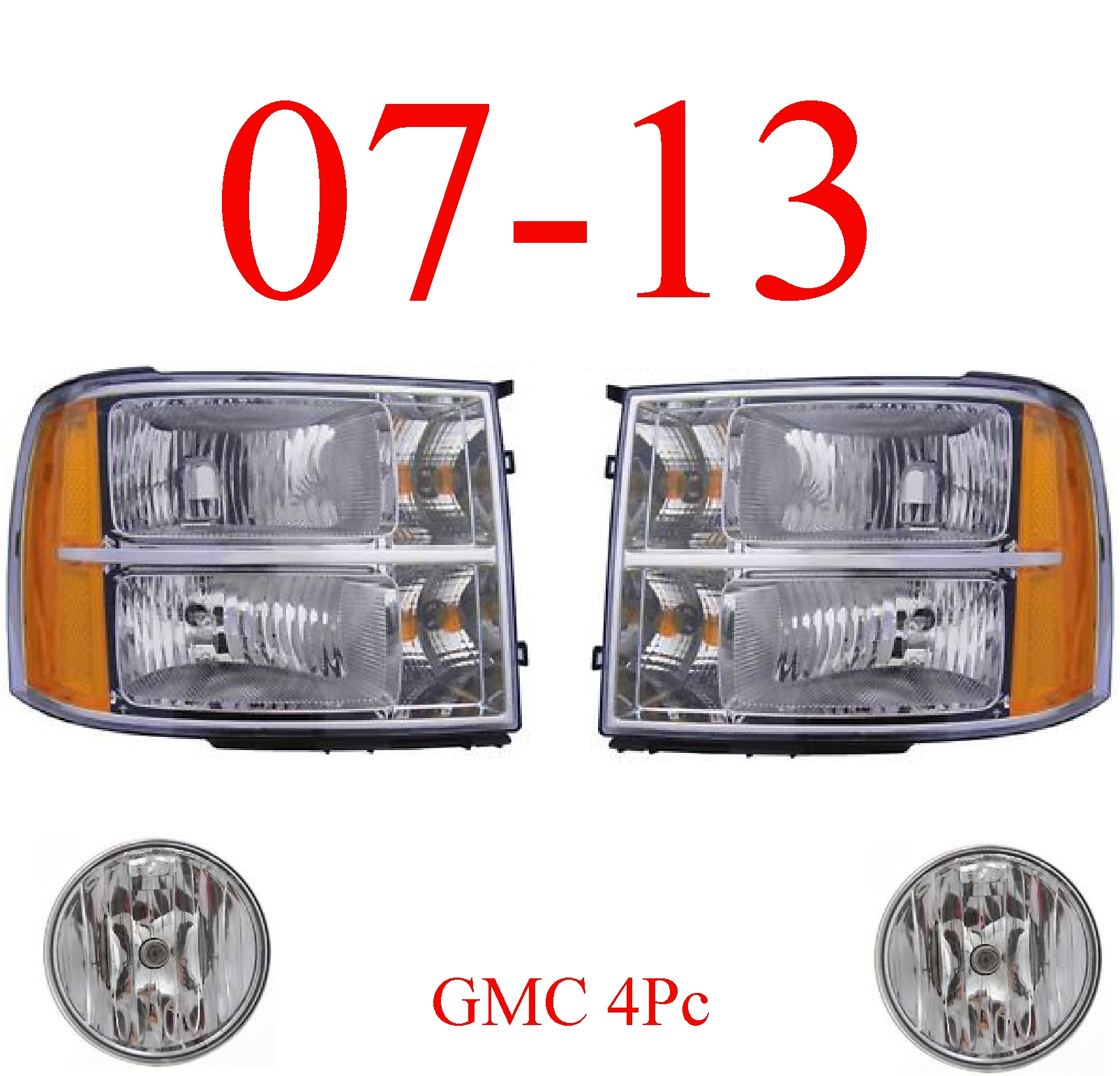 07-13 GMC 4Pc Head Light & Fog Light Kit