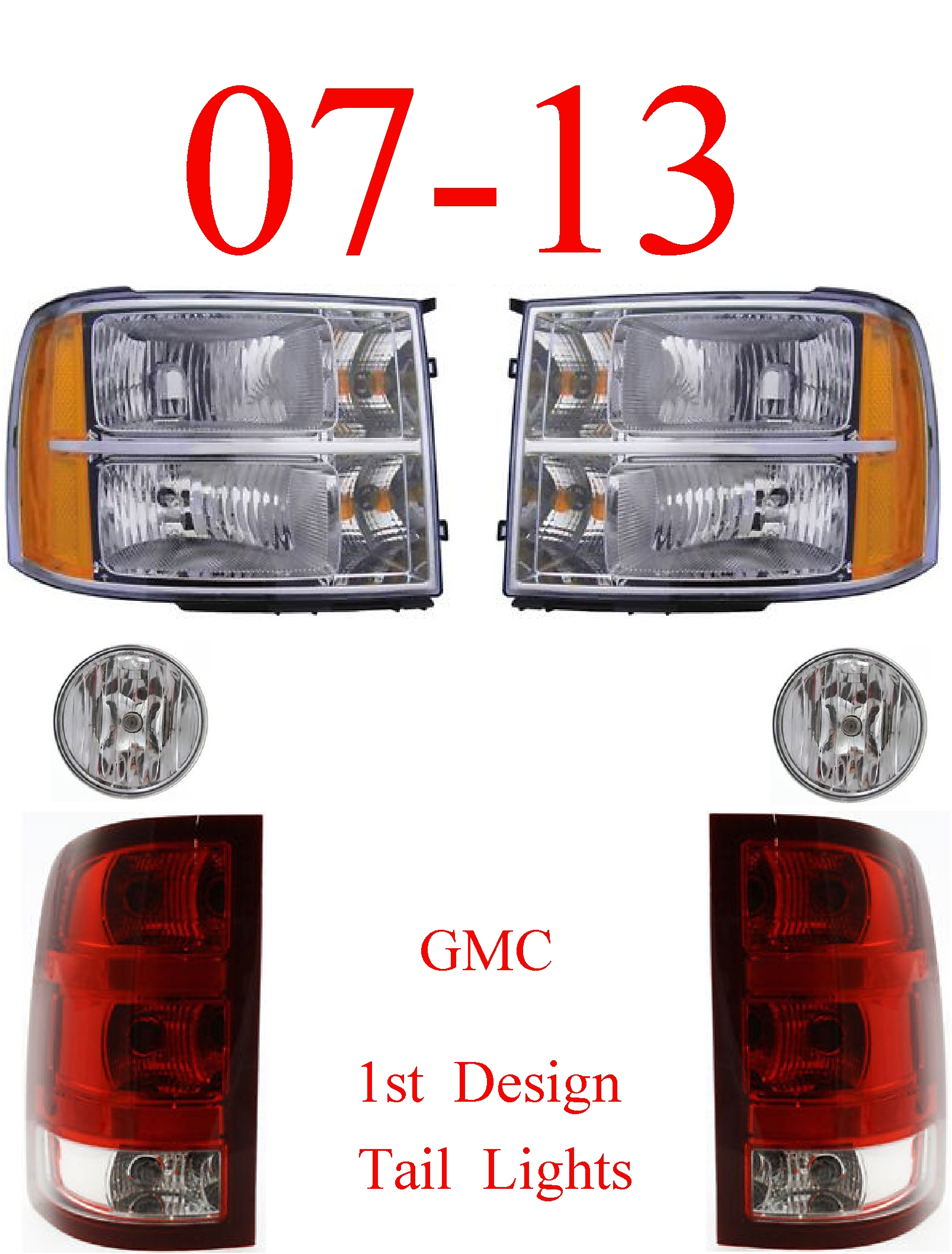 07-13 GMC 6Pc Head, Tail & Fog Light Kit, 1st Design
