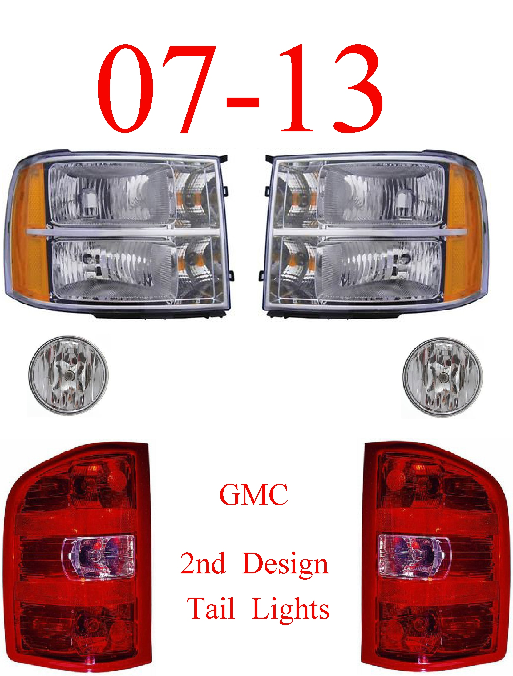 07-13 GMC 6Pc Head, Tail & Fog Light Kit, 2nd Design