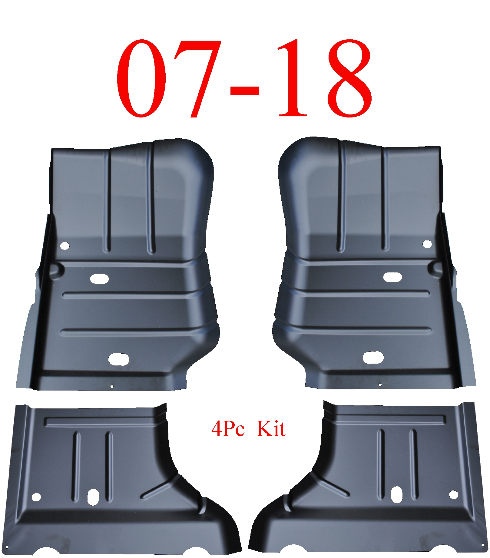07 & Up Jeep Wrangler JK 4Pc Front & Rear Floor Pan Set