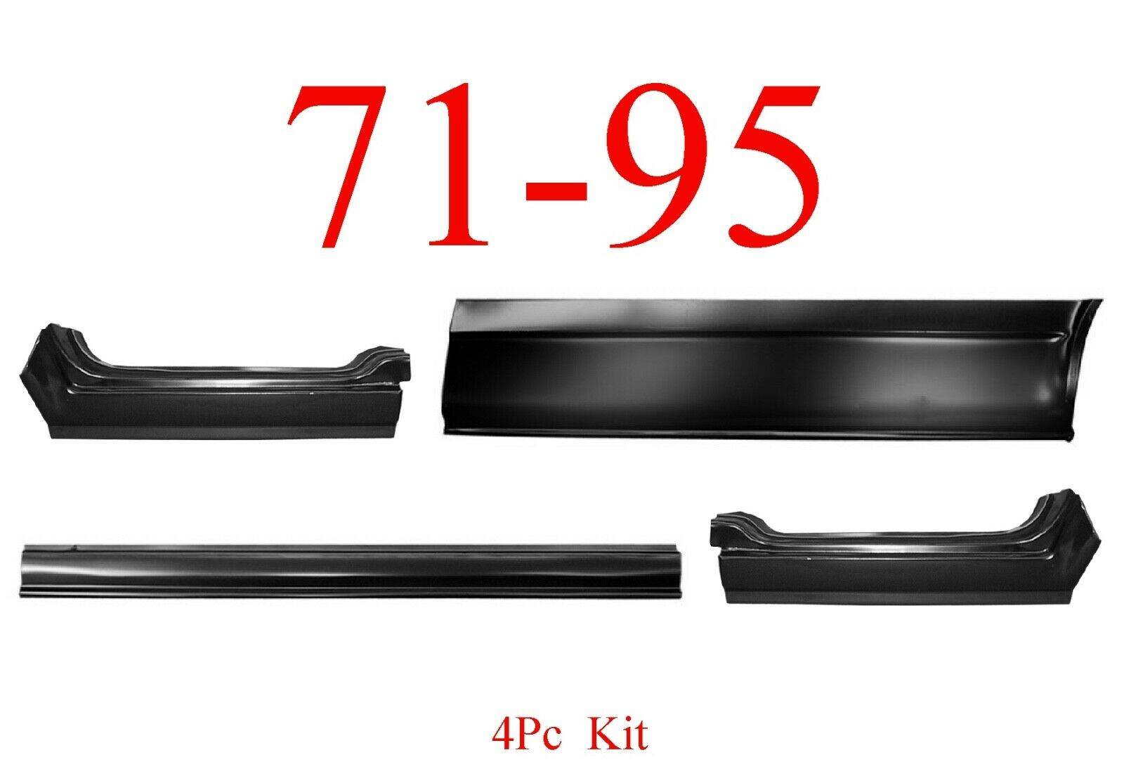 4Pc 71-95 Chevy Van Rocker Panel & Quarter Lower Set