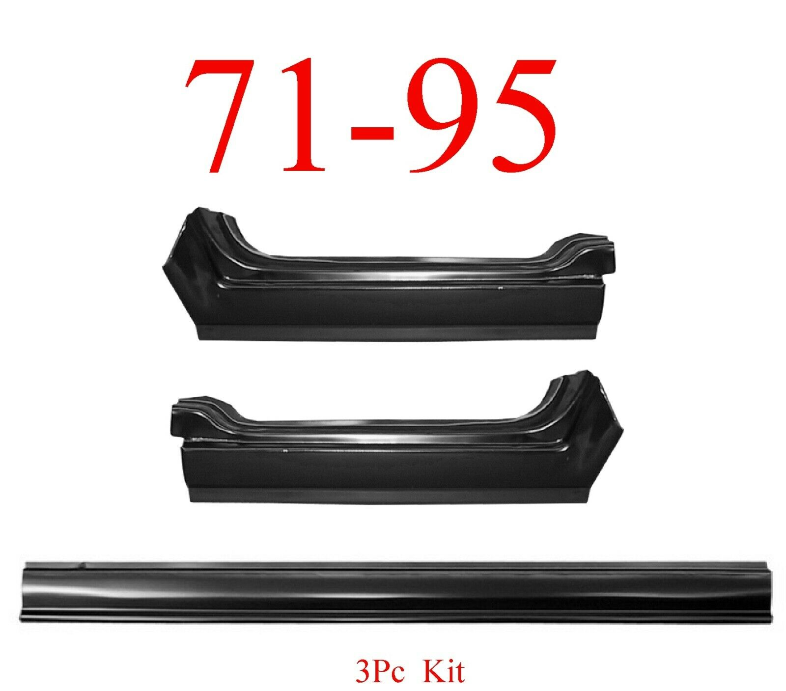 3Pc 71-95 Chevy Van Rocker Panel Set