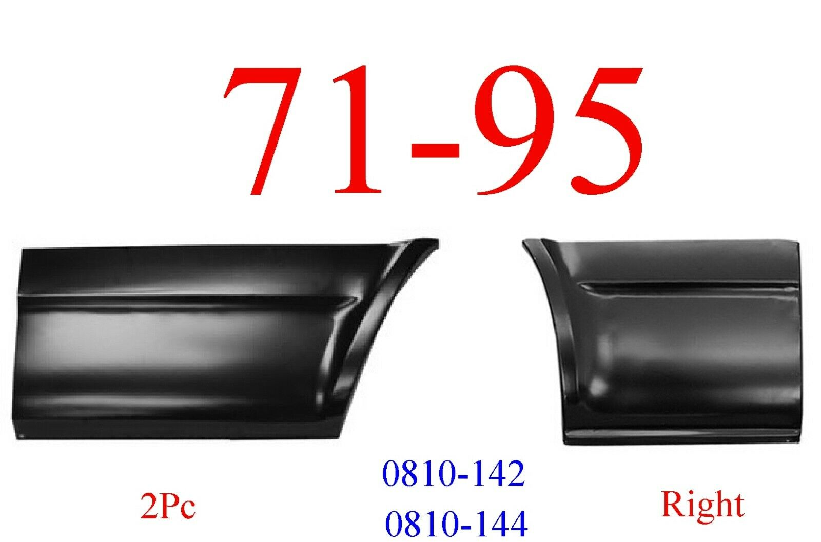 2Pc 71-95 Chevy Van Right Lower Front & Rear Quarter Panel Set